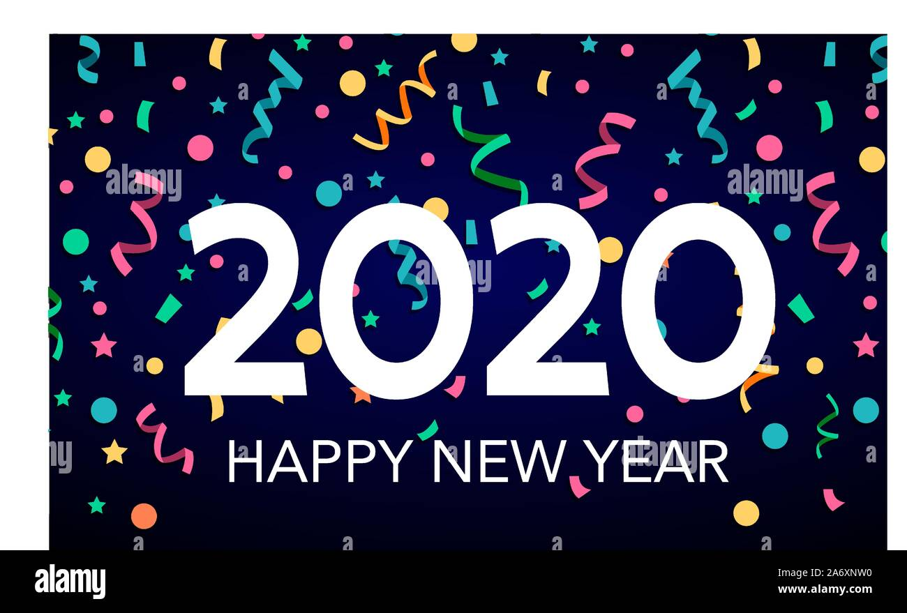 Happy New Year 2020 Greeting Card Text Design Brochure Design Template Card Banner Stock Vector Image Art Alamy