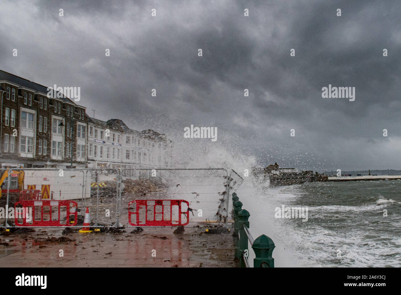 Penzance, Cornwall, UK. 29th October 2019. UK Weather.  Strong wind, big waves and heavy rain batter the sea front at Penzance this morning. Credit Simon Maycock / Alamy Live News. Stock Photo