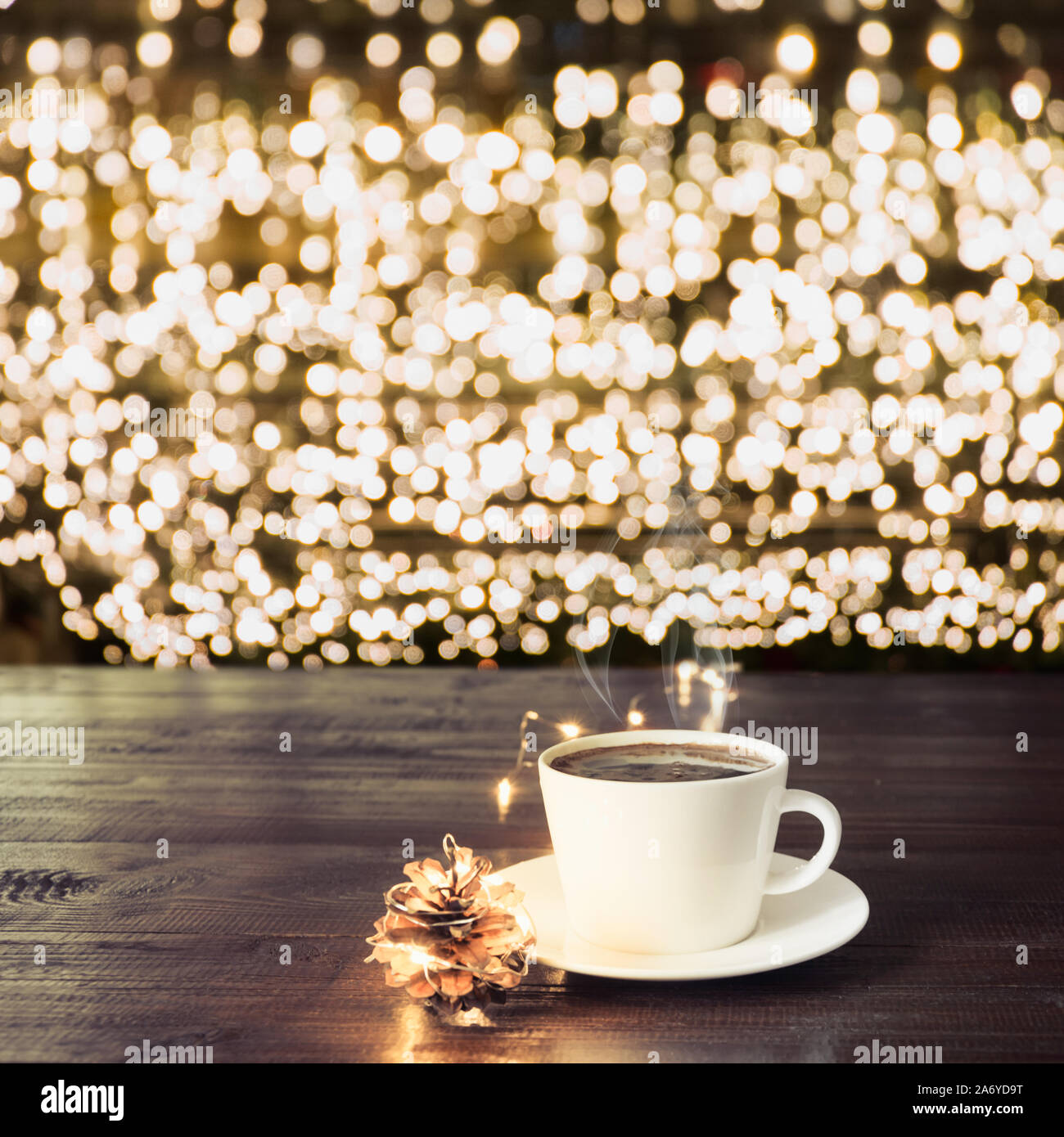 Cup Of Black Coffee And Decor On Wooden Board In Cafe Blurred Gold Garland As Background Christmas Time Xmas Pattern Stock Photo Alamy