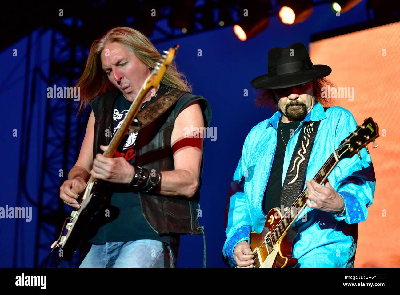 Gary Rossington of Lynyrd Skynyrd on stage at the Stagecoach Festival in Indio, California. Stock Photo