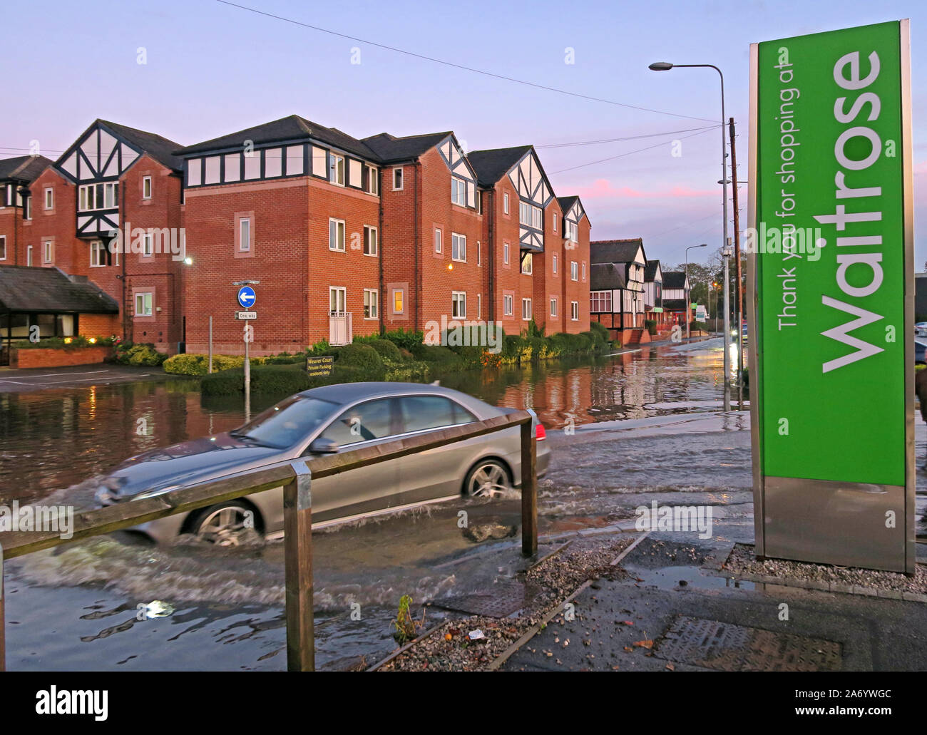 Severe flooding in Northwich Town, Chester way, River Weaver October 2019, Cheshire, England, UK - Waitrose Car Park Flooding Stock Photo