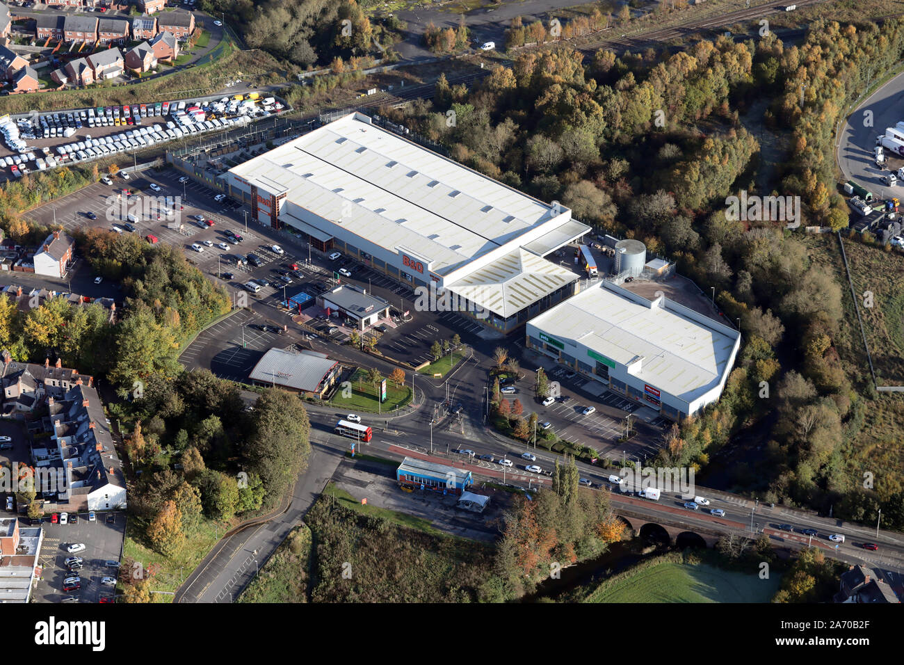 Aerial View Of Bq Pets At Homes Pizza Hut On London Road