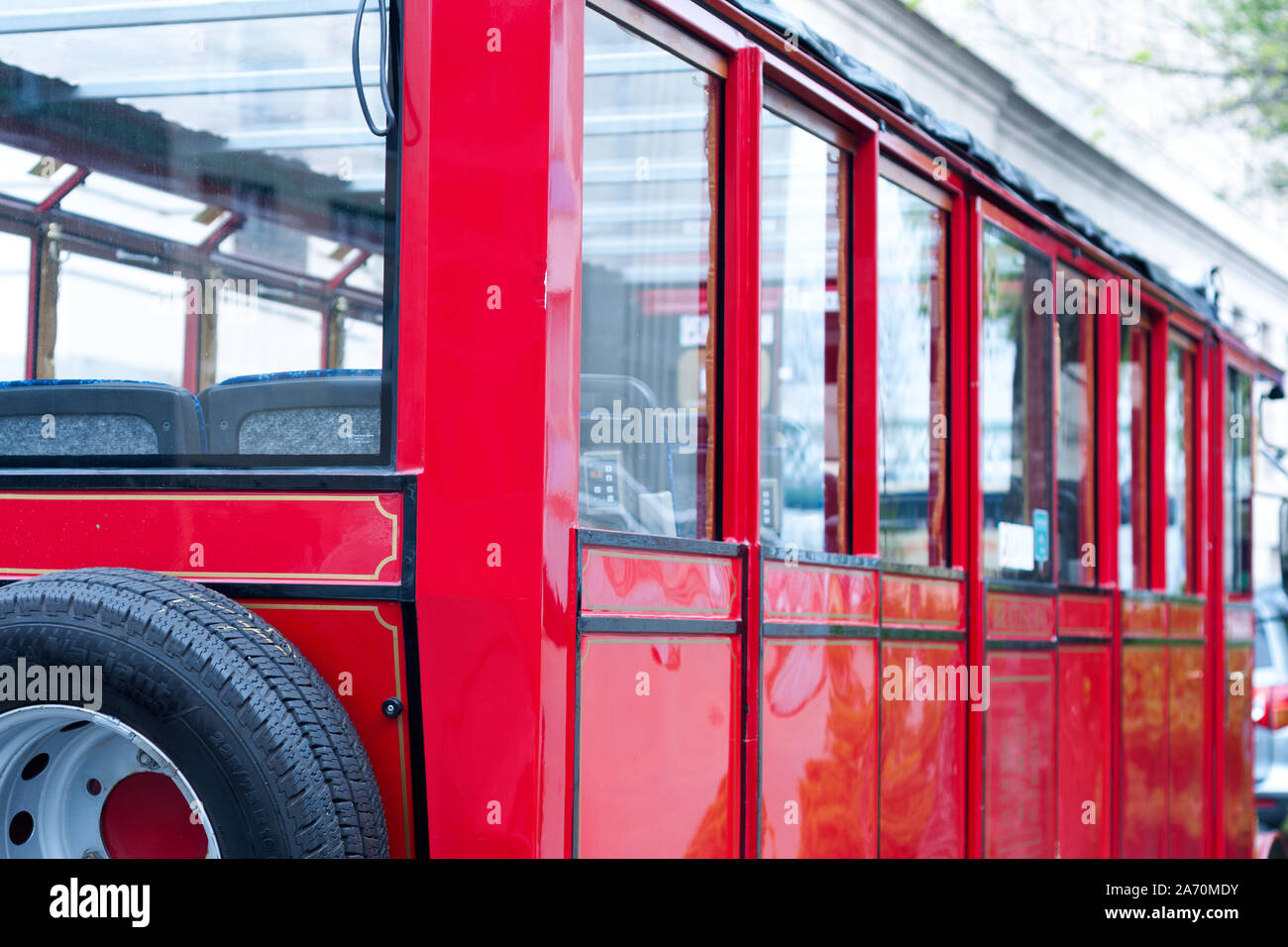 detail of a vintage empty  red tram. old style transport. turistic bus Stock Photo