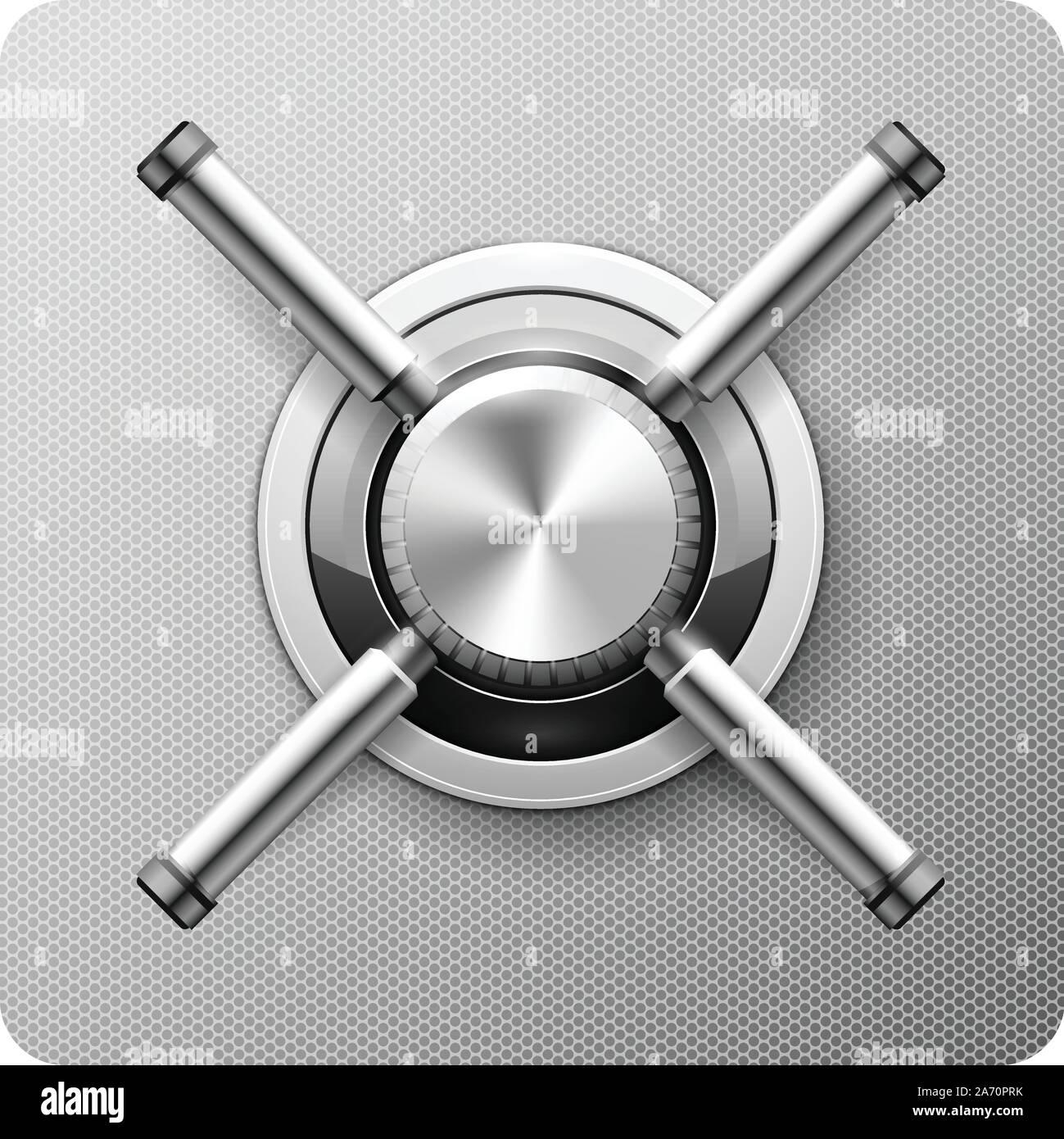 Safe handle wheel - vault door of strongbox rotary valve Stock Vector