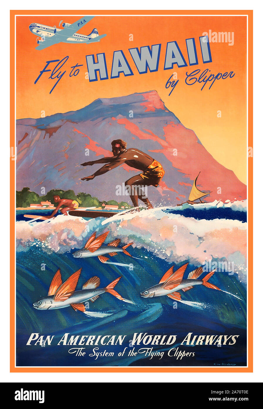Vintage 1950s BOAC Travel Poster Carribean Beach Palms Tropical Holiday Retro