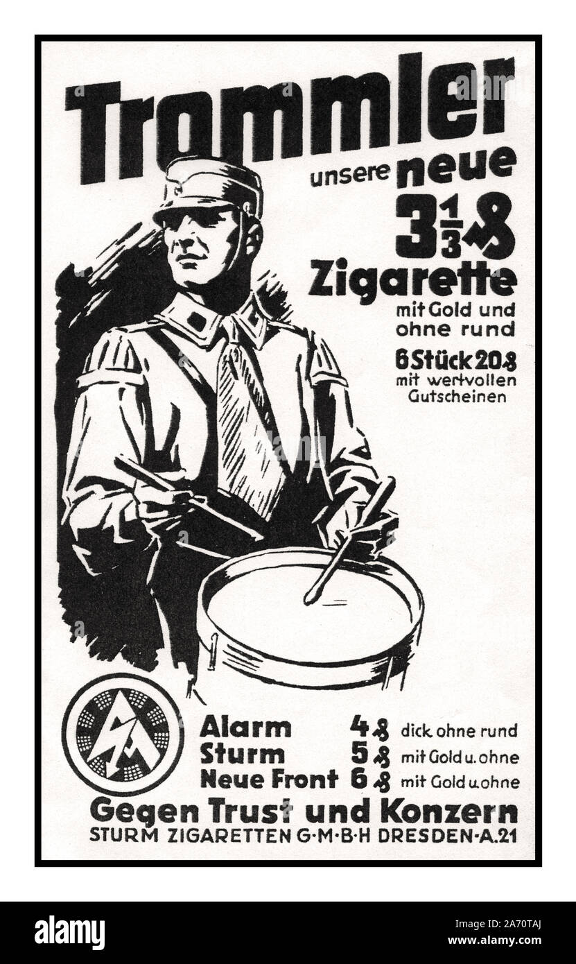 1930's Nazi Germany press advertisement for THIRD REICH 'TROMMLER' SA Marching Drummers Our New Branded Cigarette Sturm-Cigarettes trust and corporation NSDAP Stock Photo