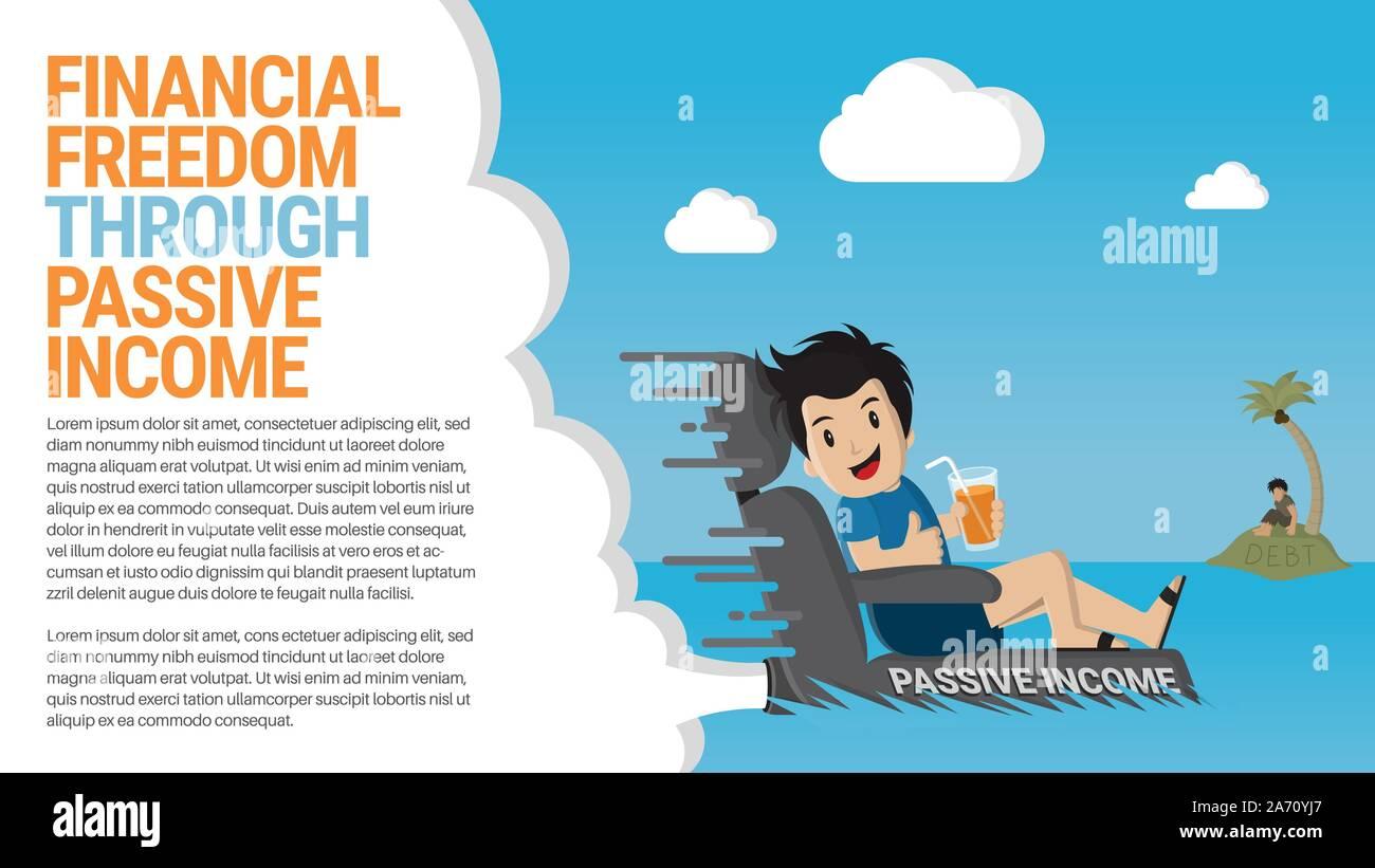 Financial Freedom Through Passive Income Flat Vector Cartoon