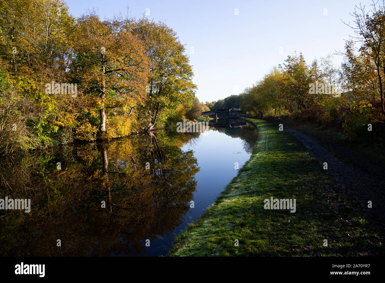Colourful Autumn trees and foliage alongside the Calder & Hebble canal on a cold calm late October day near Mirfield, West Yorkshire, England Stock Photo