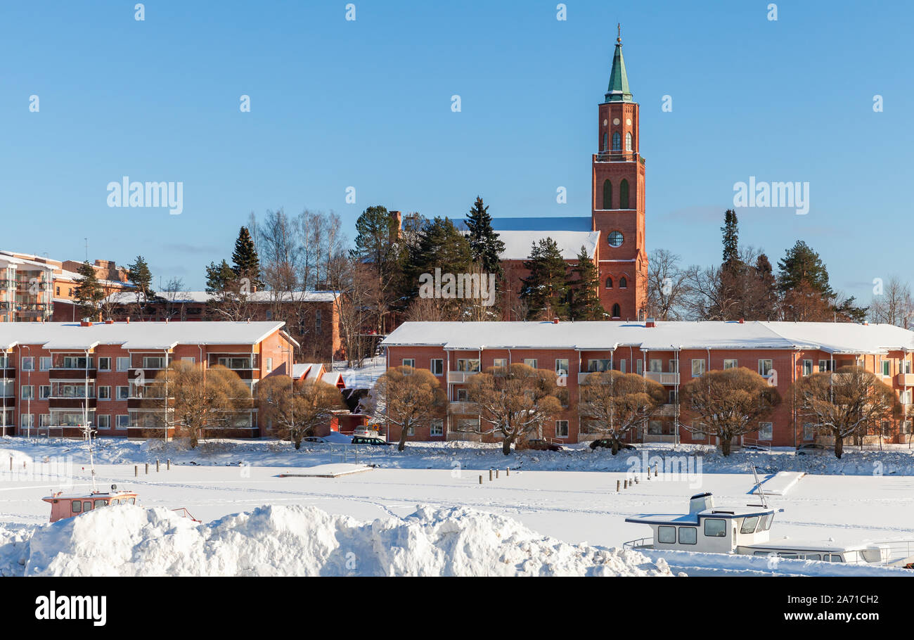 Winter landscape of Savonlinna town located in the heart of the Saimaa lake region, Finland Stock Photo