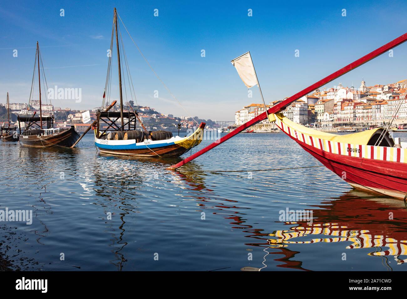 Traditional ships, wine transport on river Douro. Porto, Portugal Stock Photo