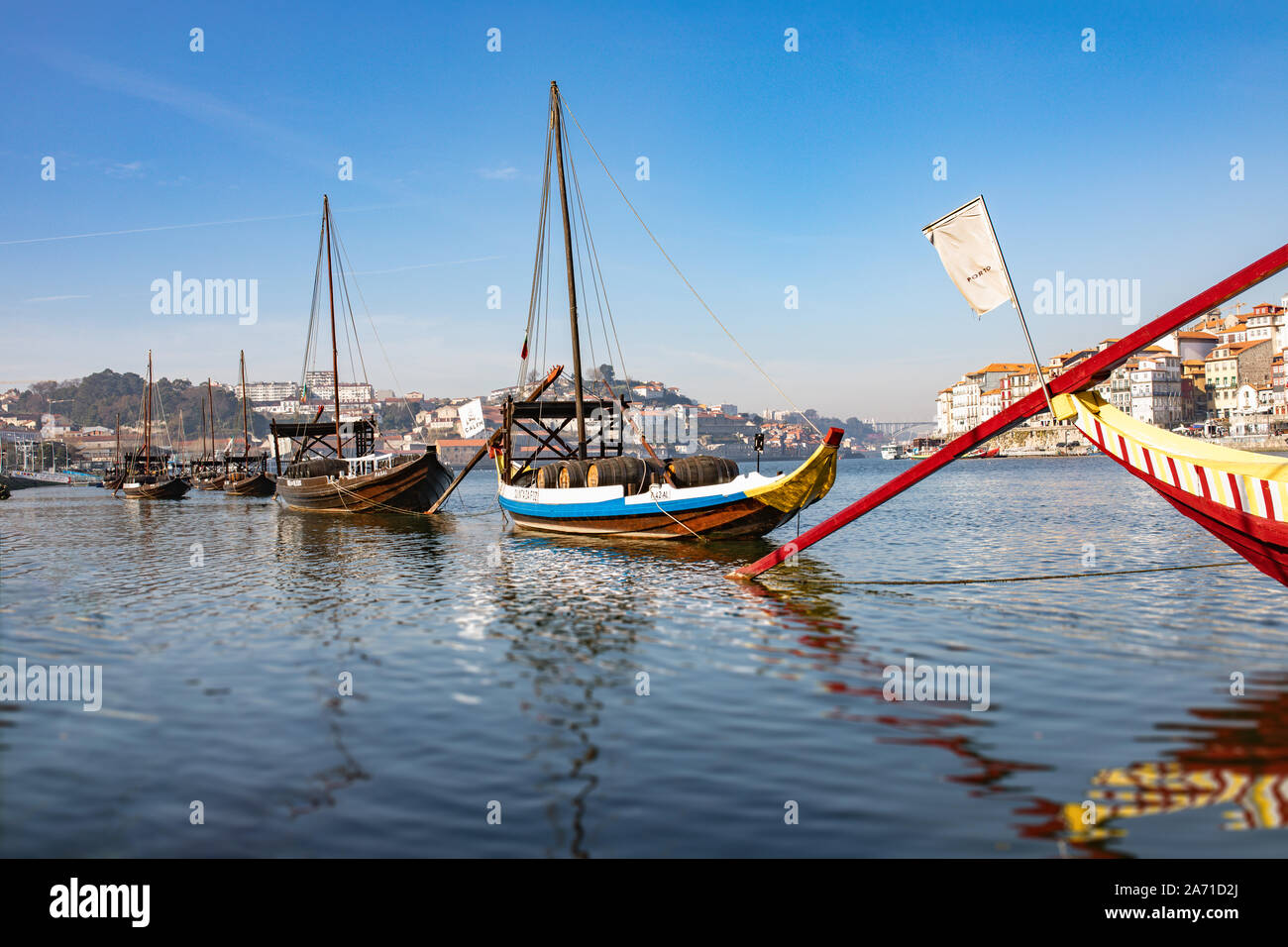 Traditional ships, wine transport on river Douro. Porto, Portugal Stock Photo