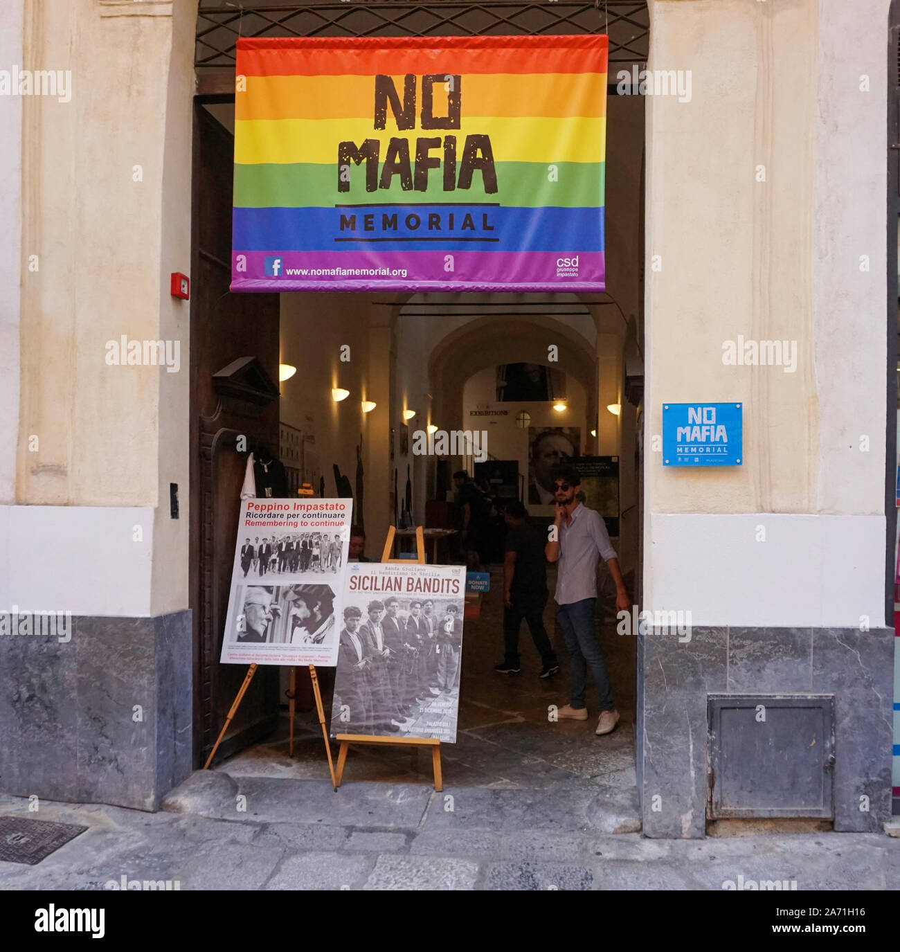 The No Mafia Exhibition in Palermo chronicling the fight against the crimes of the mafia. Stock Photo