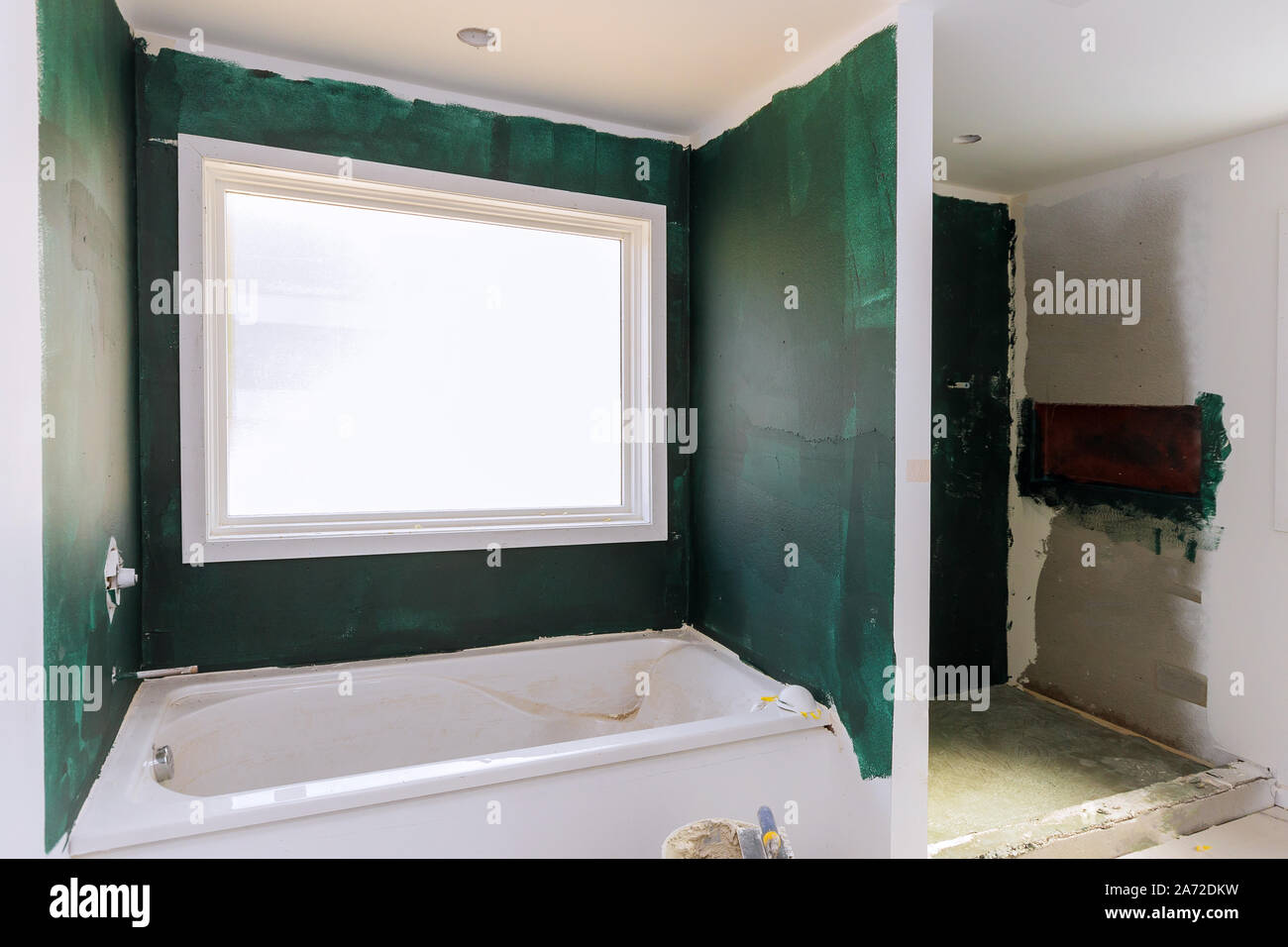 Construction Remodeling A Bathroom New Apartments Repair And Installation Interior Drywall Finish Stock Photo Alamy