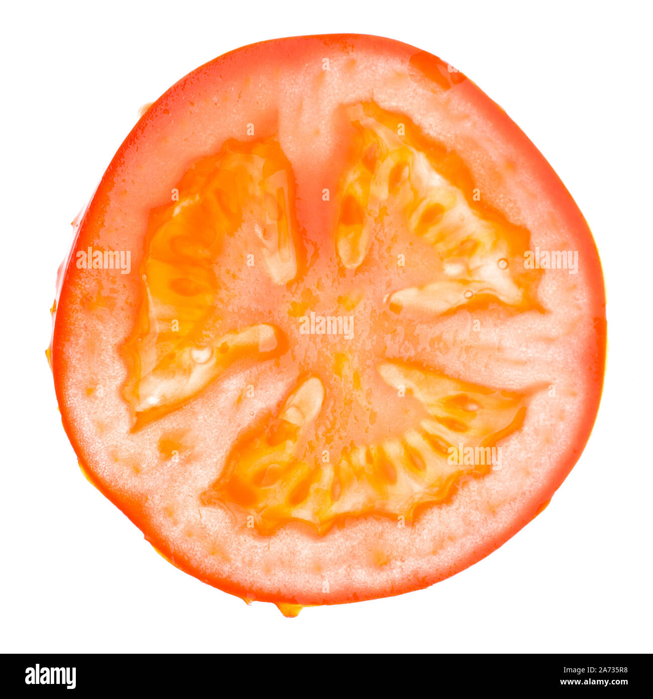 Single slice of a tomato isolated on white background Stock Photo