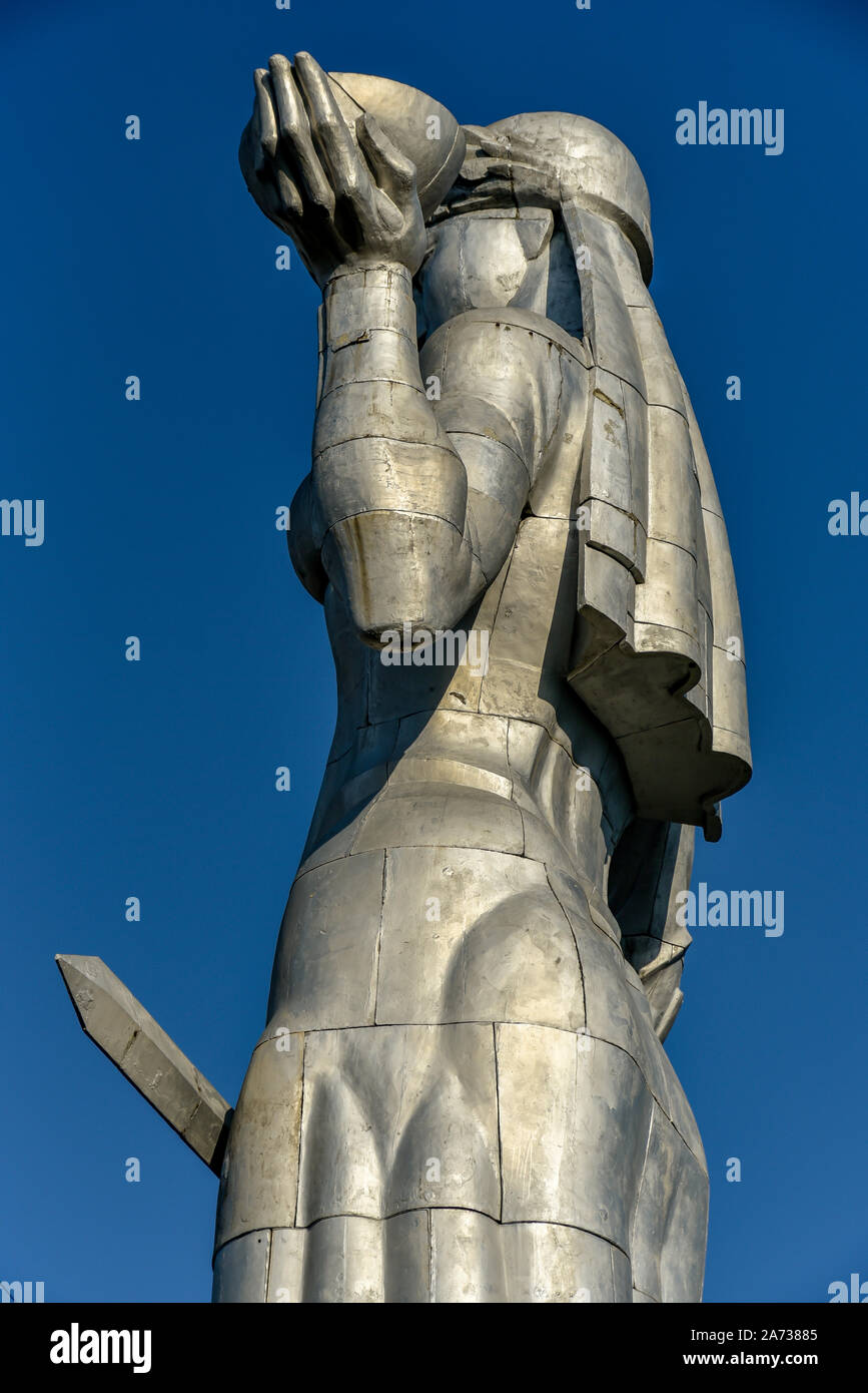 Old Tbilisi, Republic of Georgia, October 17, 2019, Kartlis Deda or Mother of Georgia on the top of Sololaki hills is a monument in Georgia's capital Stock Photo
