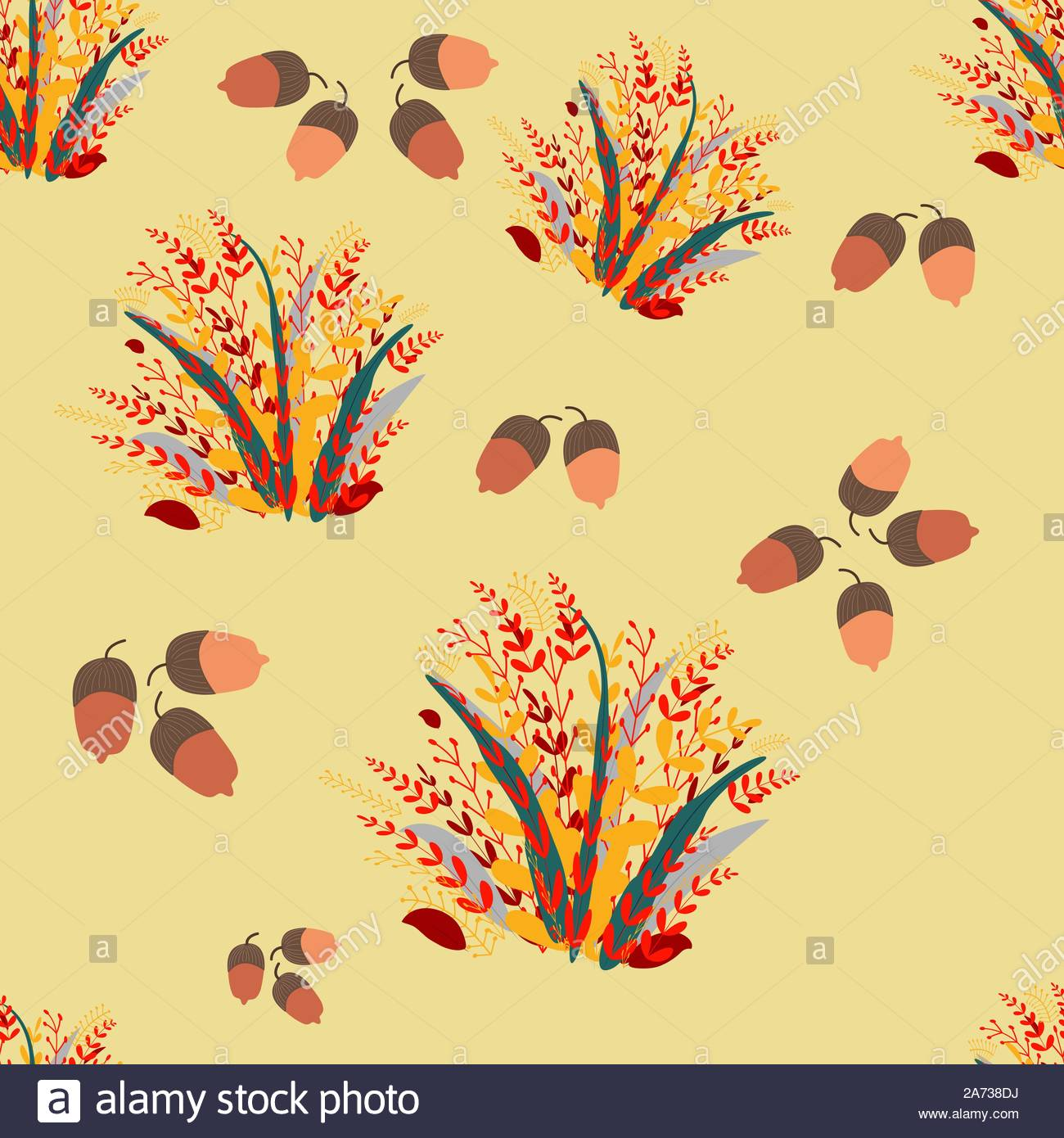 - Seamless Fall Leaves And Acorns Pattern. Autumn Endless Design