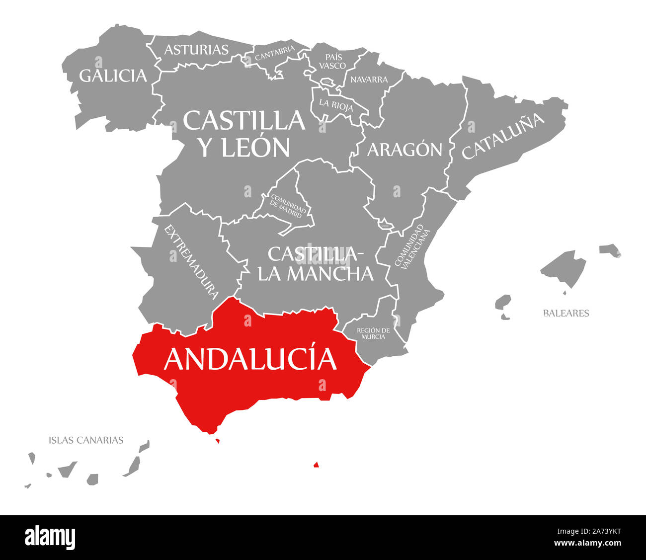 Map Of Spain Andalucia.Andalucia Red Highlighted In Map Of Spain Stock Photo 331387164