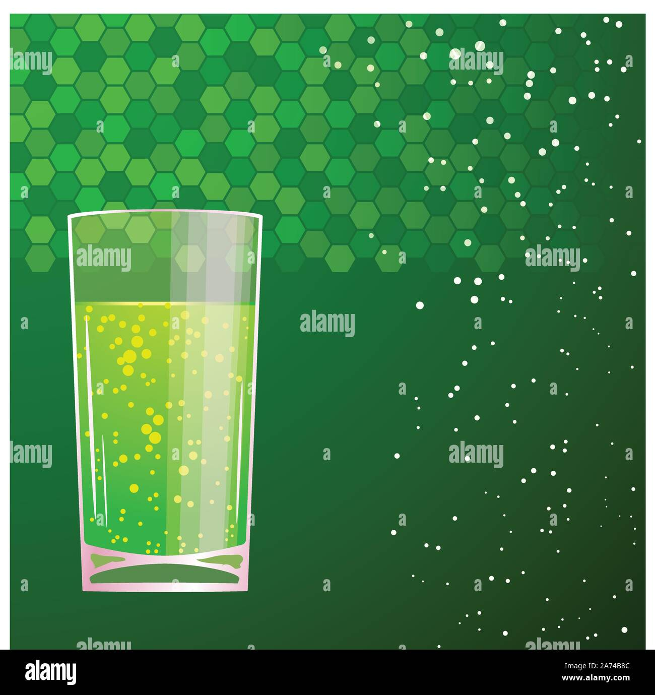 green cocktail in a glass Stock Vector