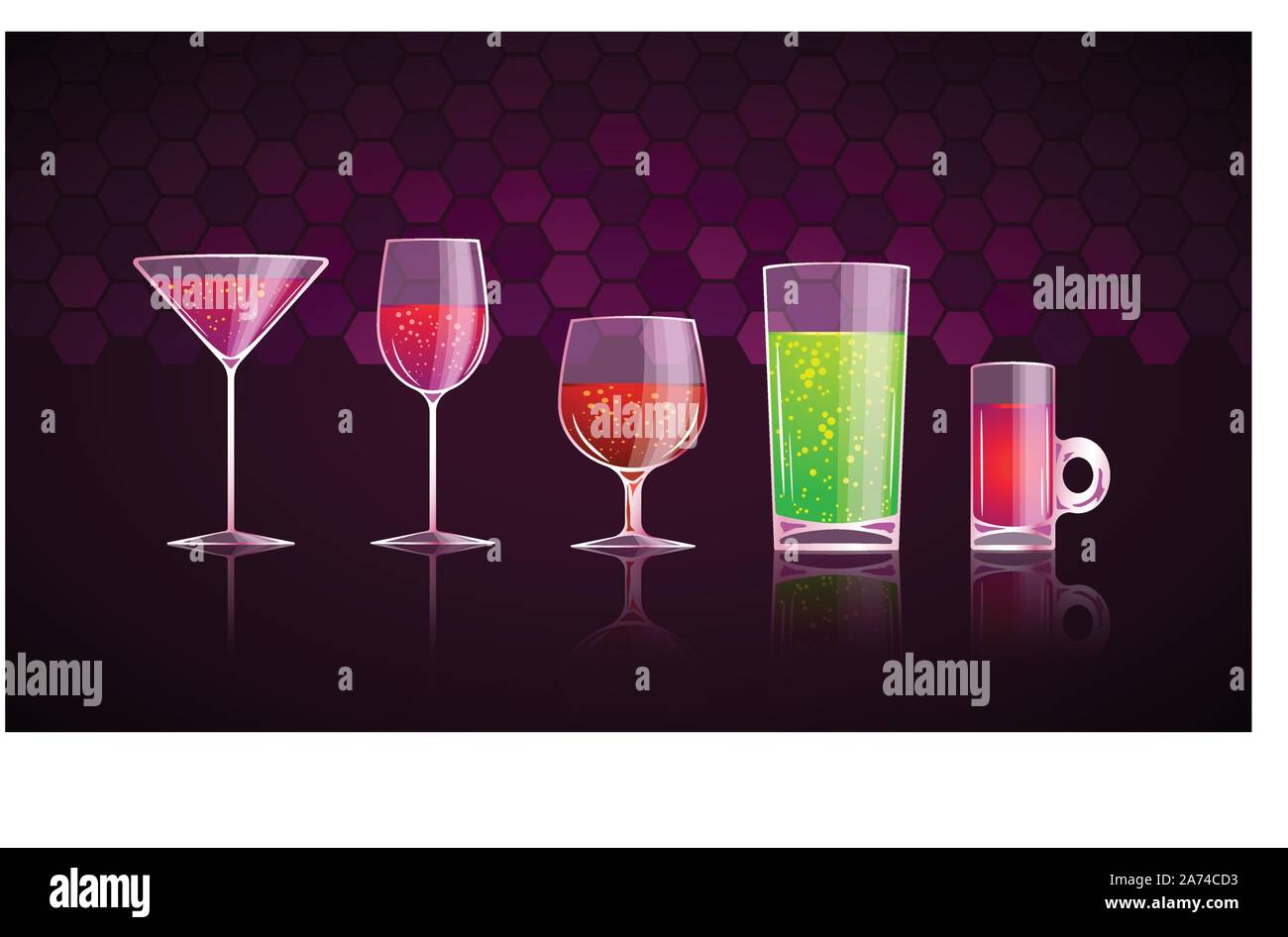 glass with drinks set Stock Vector