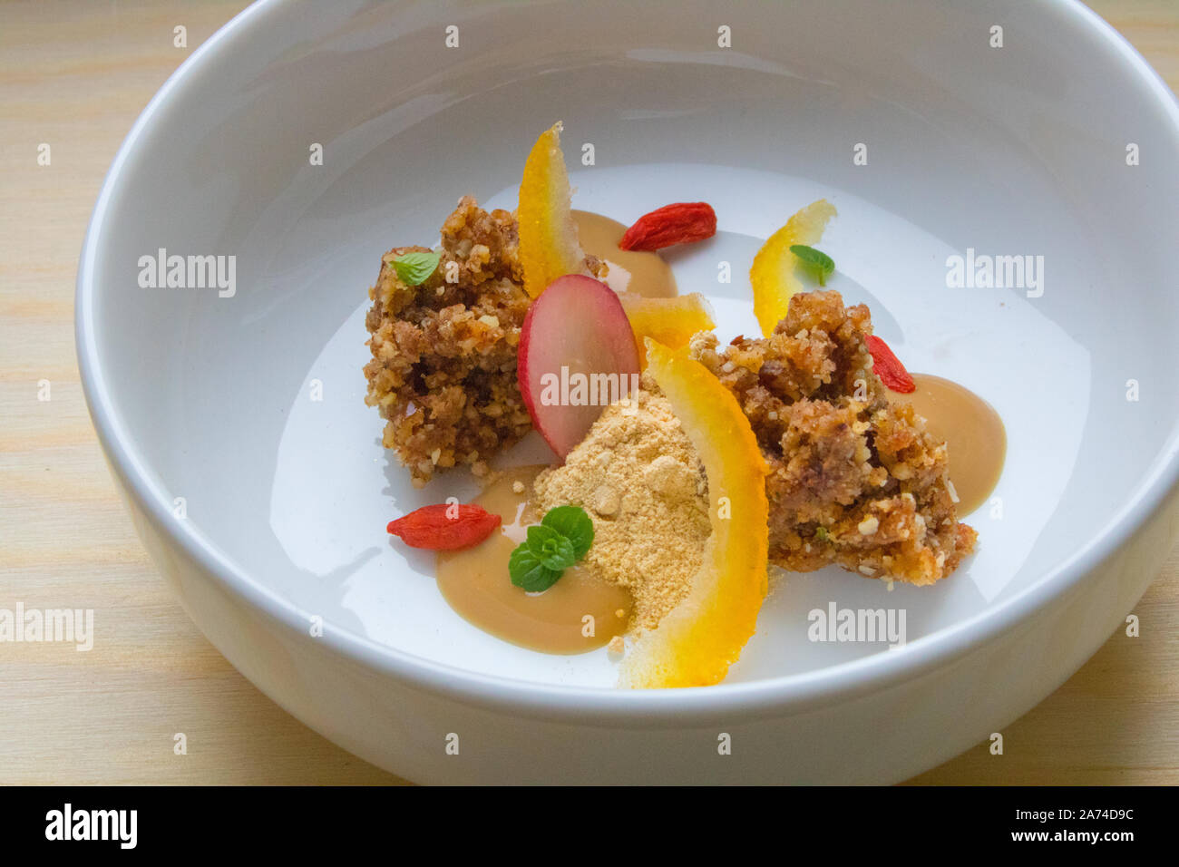 Food photography of a modernist raw food dessert Stock Photo