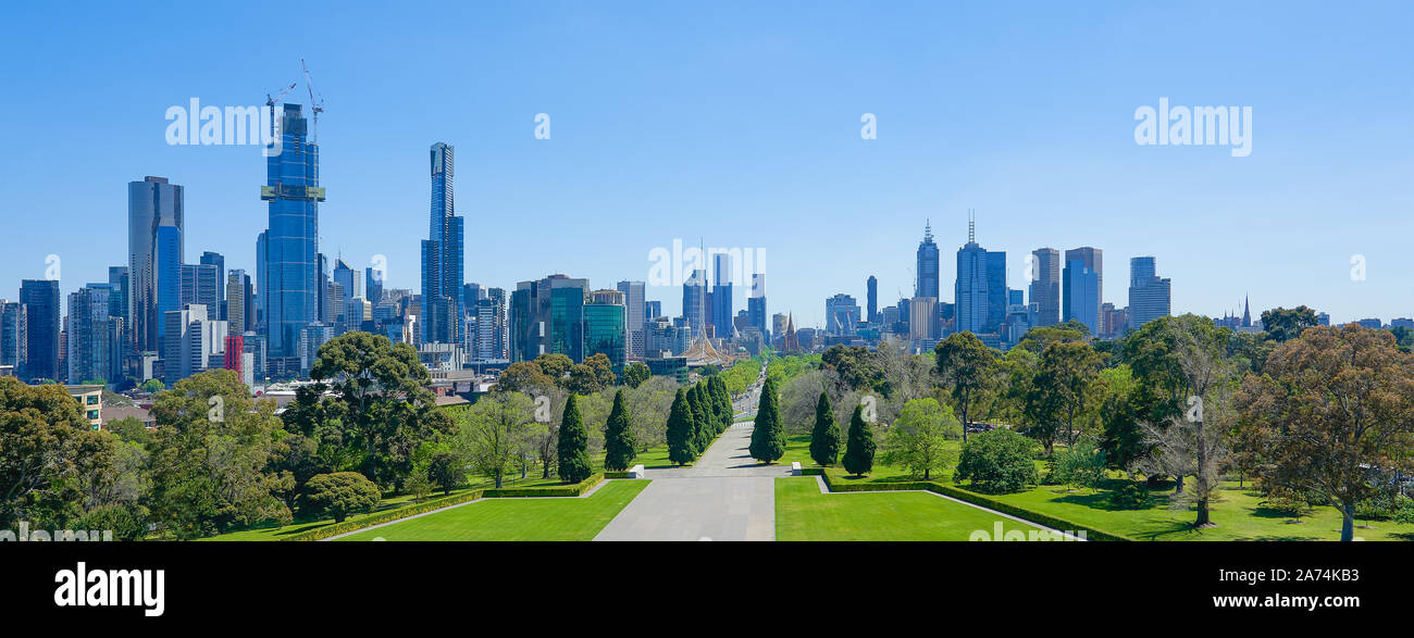 Melbourne cityscape panorama view from Shrine of Remembrance on a sunny day . Stock Photo
