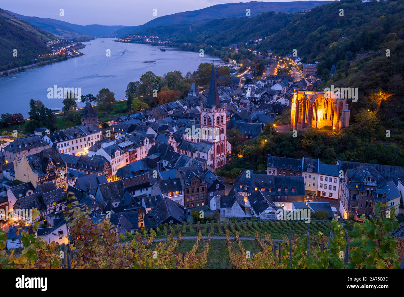 Rhine valley at Bacharach, Germany Stock Photo