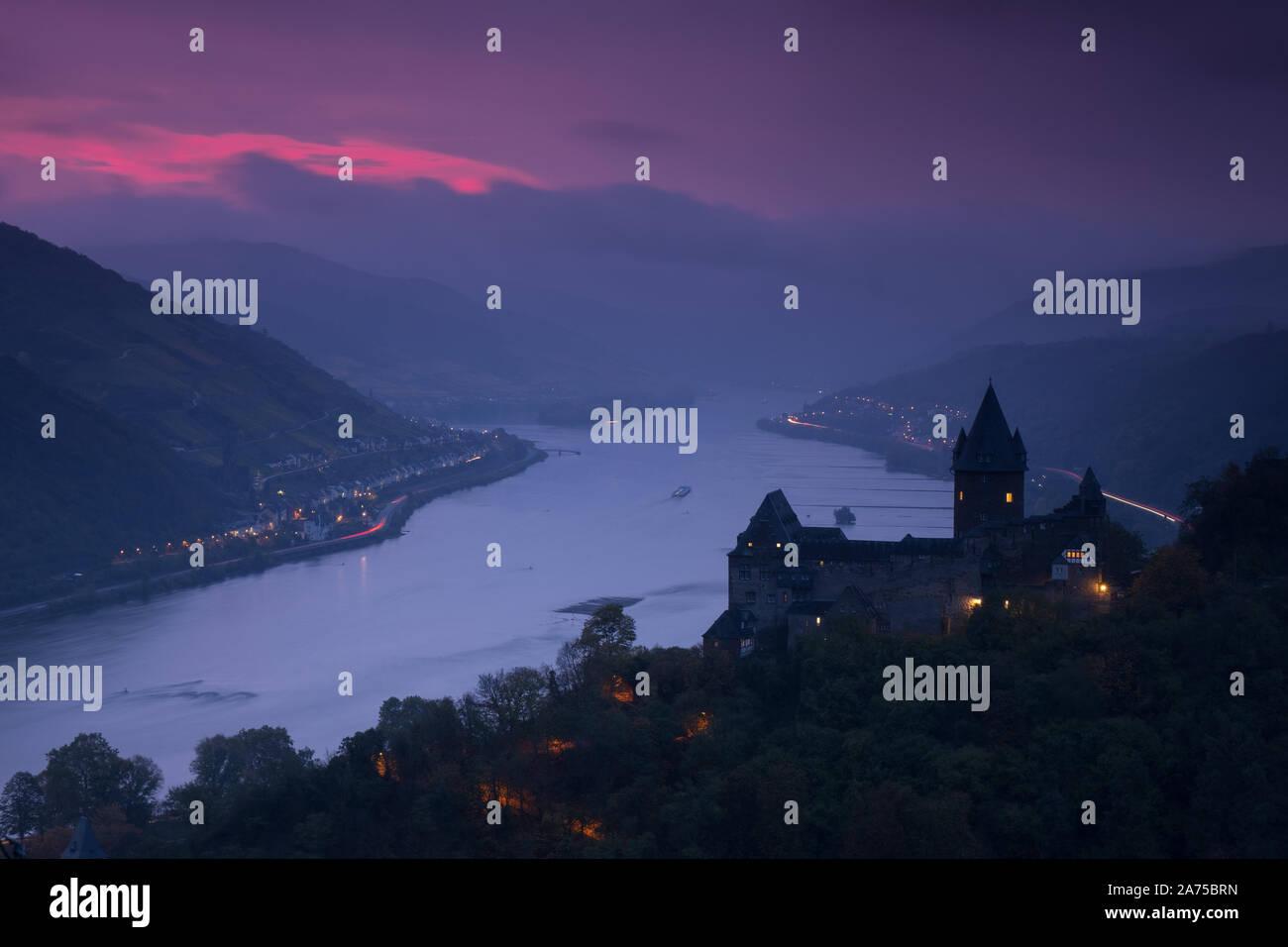 Rhine valley at Bacharach, Germany Stock Photo