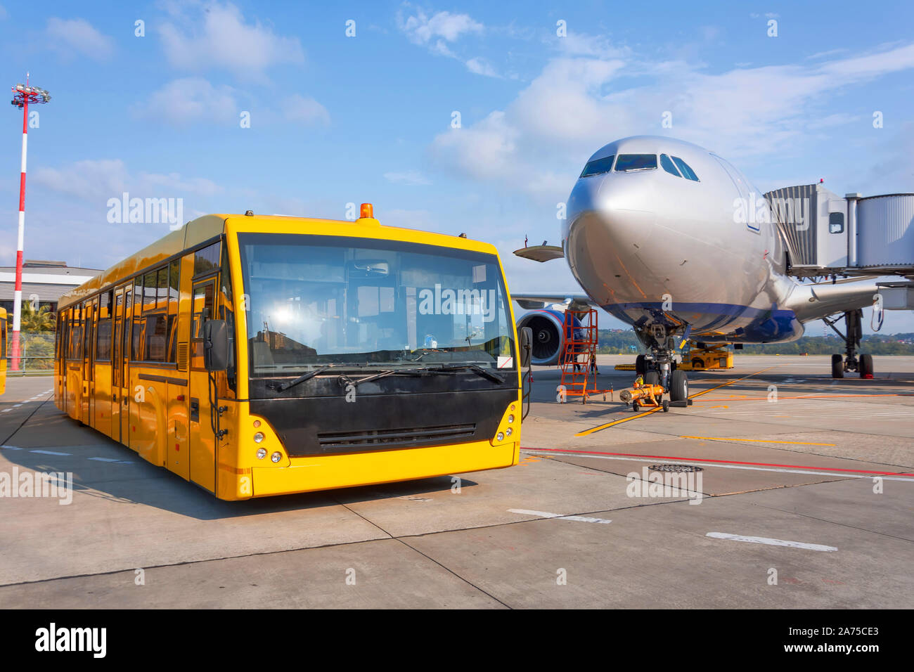 Shuttle Yellow Bus Waiting For Passengers On The Plane For Transportation To The Airport Terminal Aircraft Arrival Background Travel Tourist Destina Stock Photo Alamy