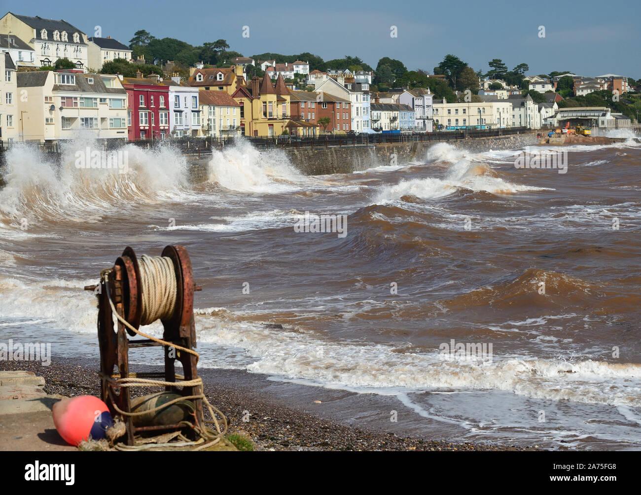 Rough sea at Dawlish. Stock Photo
