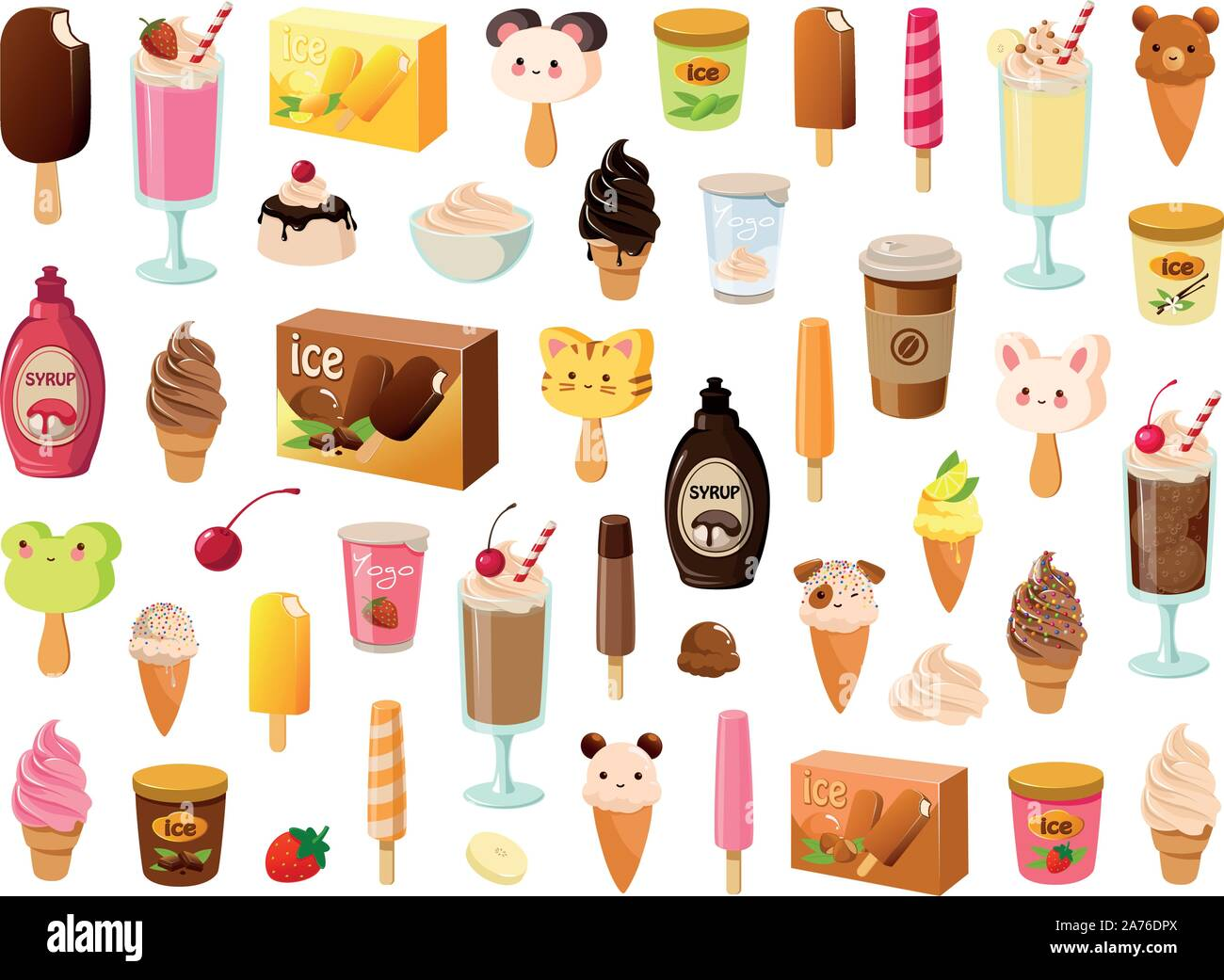 Vector illustration of various kinds of ice cream, sorbet and frozen dairy products Stock Vector
