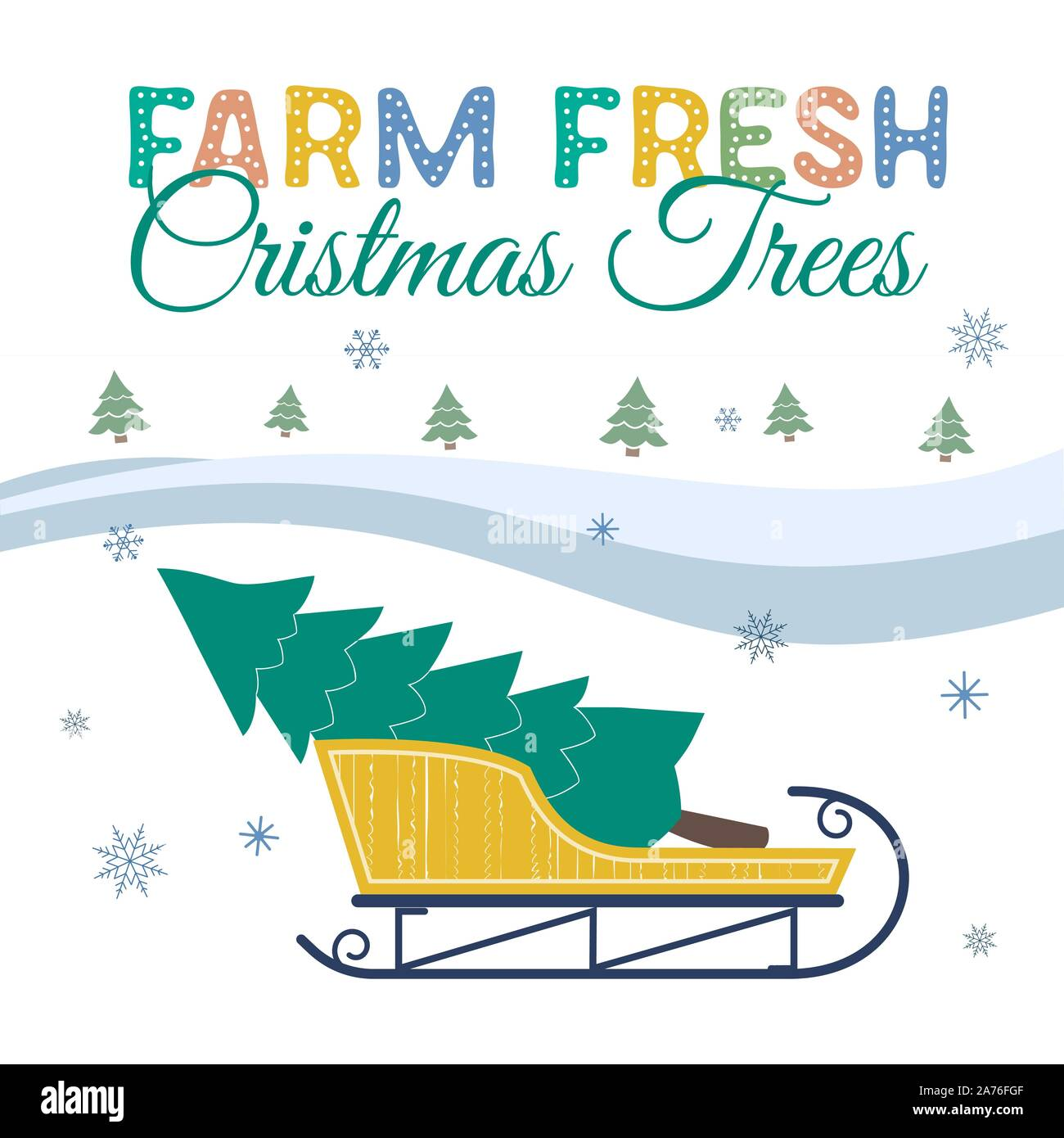 Farm fresh Christmas trees flat color vector poster. Winter holidays hand drawn cartoon. Christmas tree transportation on sleigh. Fun banner of trees Stock Vector