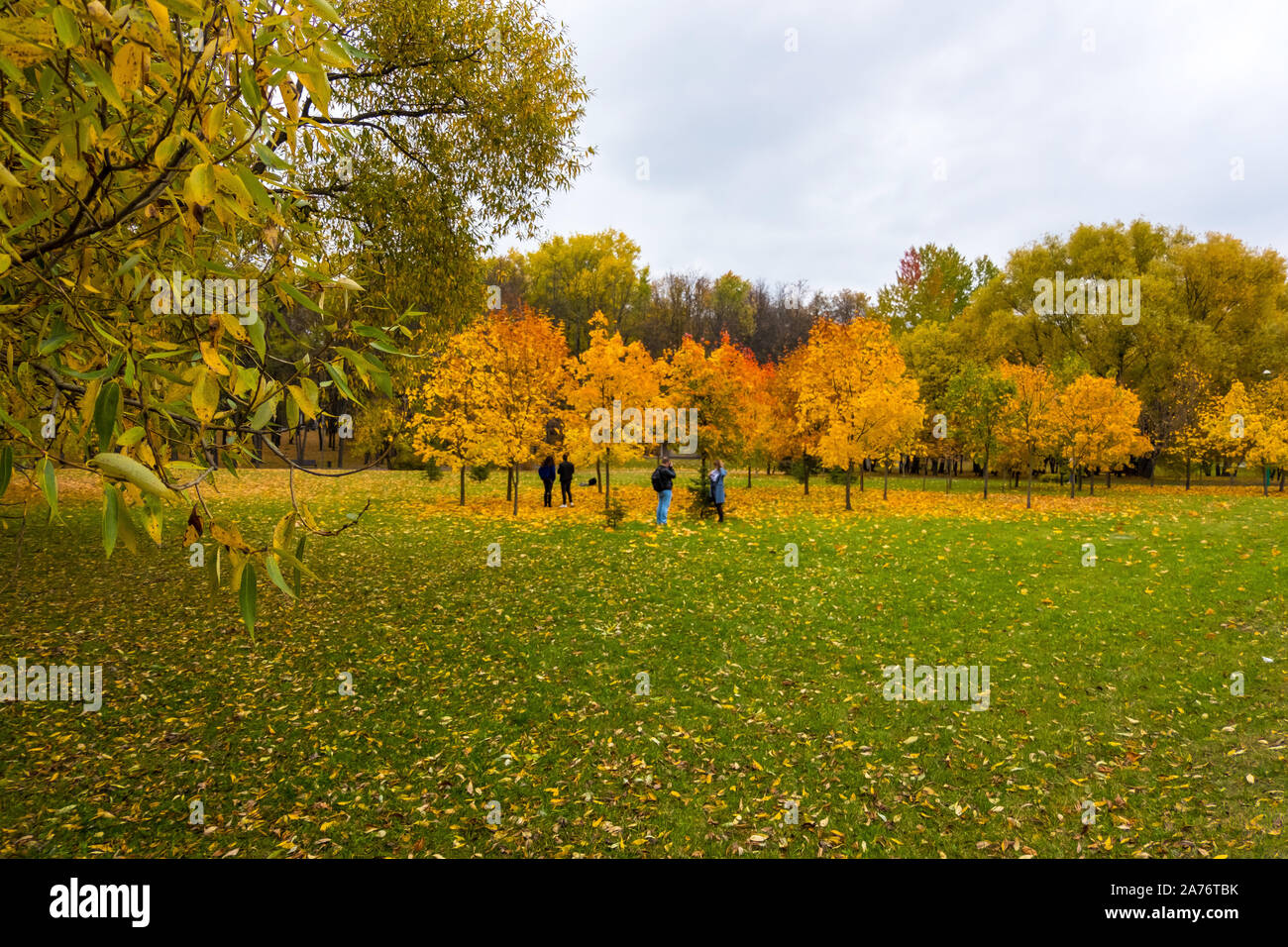 Scenic view of the city park with multicolored fall foliage in downtown Minsk, Belarus Stock Photo
