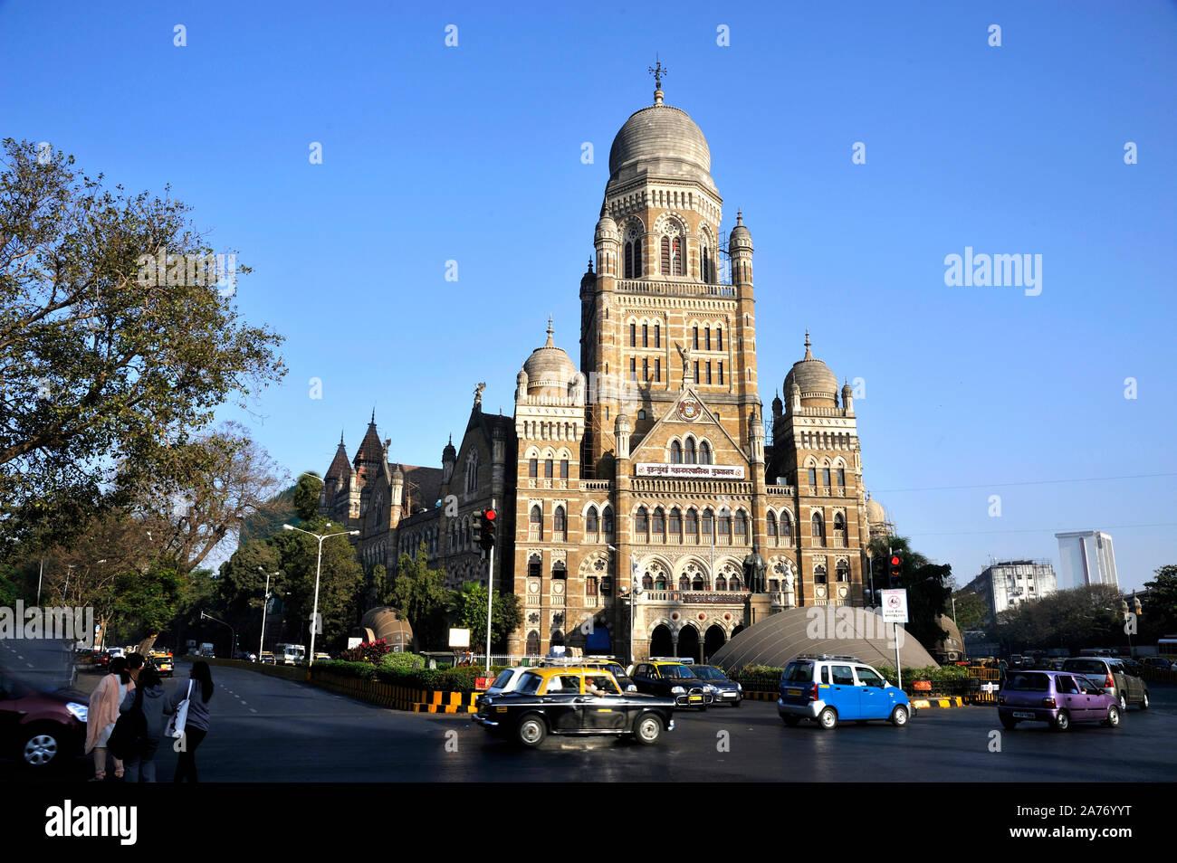 Mumbai; Maharashtra; India, Southeast Asia - 14; 2012 : Brihanmumbai Municipal Corporation(BMC) Headquarter Near Chatrapati Shivaji Terminal (C.S.T) Stock Photo