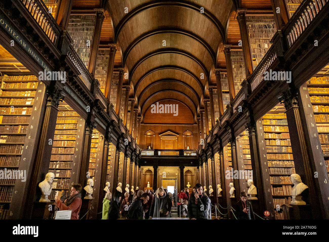 The historic Long Room of the Old Library, in Trinity College, Dublin, Ireland Stock Photo