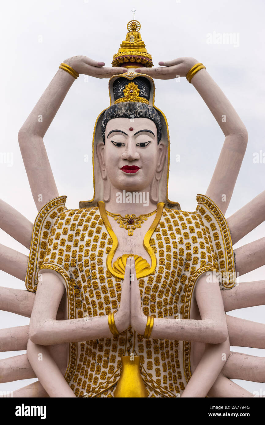 Ko Samui Island, Thailand - March 18, 2019: Wat Laem Suwannaram Chinese Buddhist Temple. Closeup of chest and heast of Giant Guan Yin goddess statue w Stock Photo