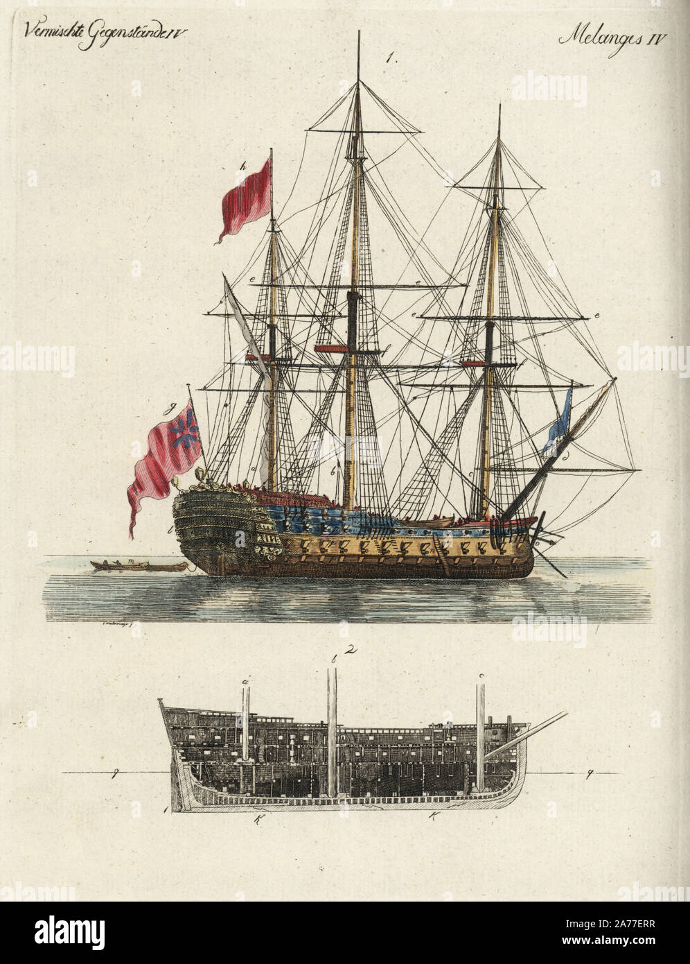 Ship of the line, with section through interior of the hull. Handcoloured copperplate engraving after Christiane Henriette Dorothea Westermayr from Friedrich Johann Bertuch's Bilderbuch fur Kinder (Picture Book for Children), Weimar, 1792. Stock Photo