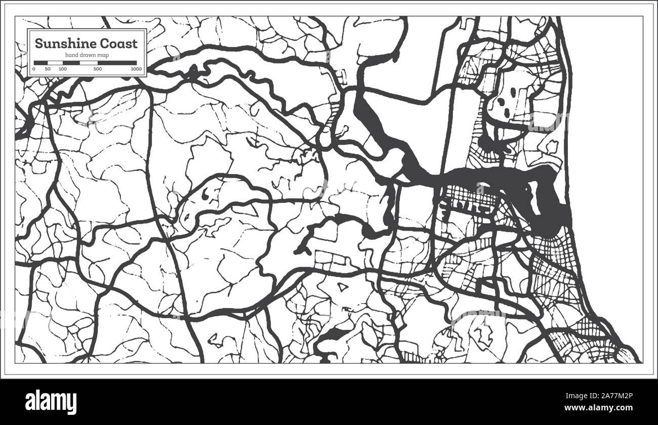 Australia Map Black And White Outline.Sunshine Coast Australia City Map In Black And White Color