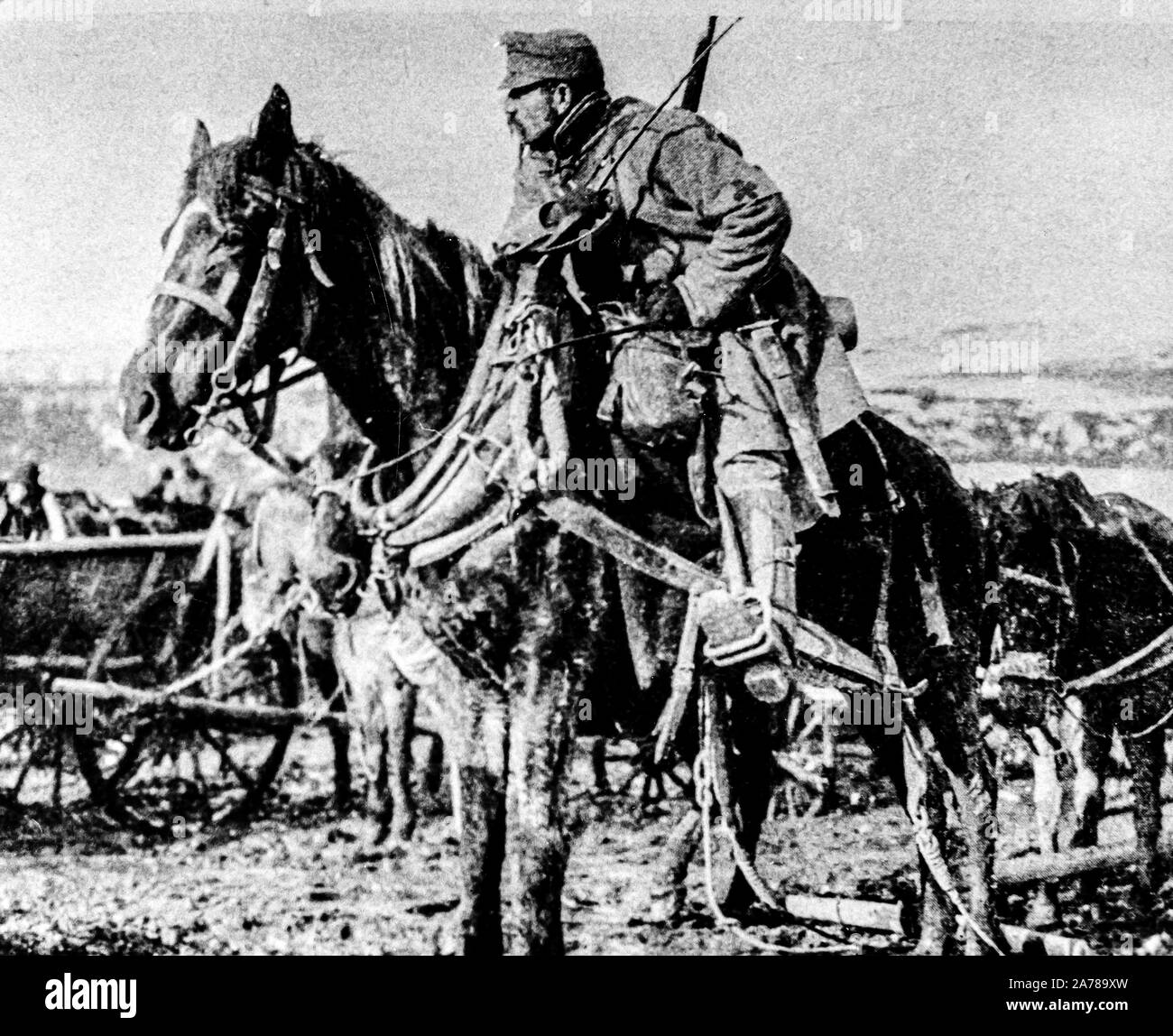 Austro-Hungarian soldier on horseback, World War I Stock Photo