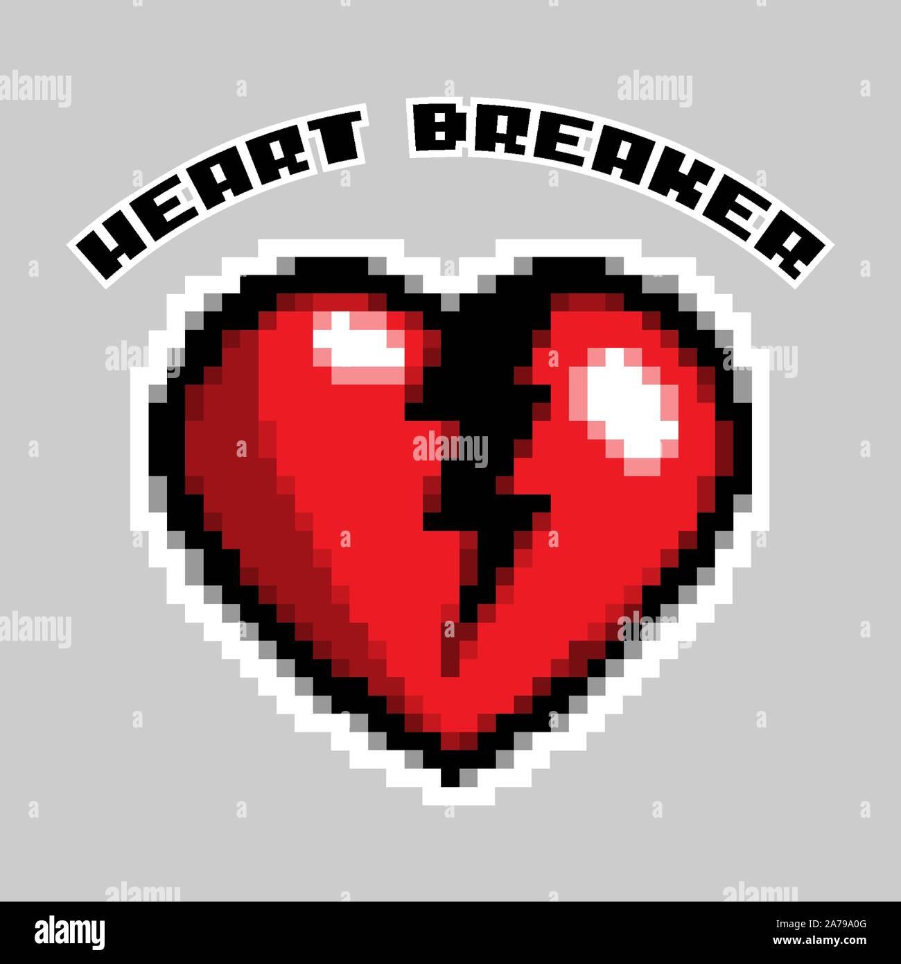 Pixel Art Heart Breaker Love And Valentine Vector Illustration Stock Vector Image Art Alamy