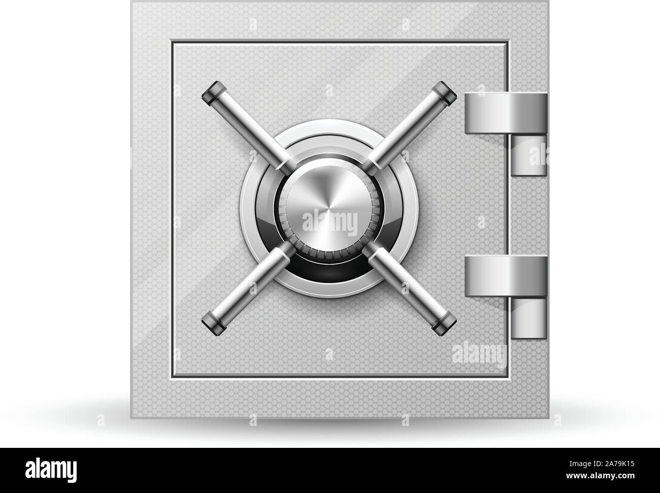 Vault with handle wheel - safe door, strongbox with rotary valve opener Stock Vector