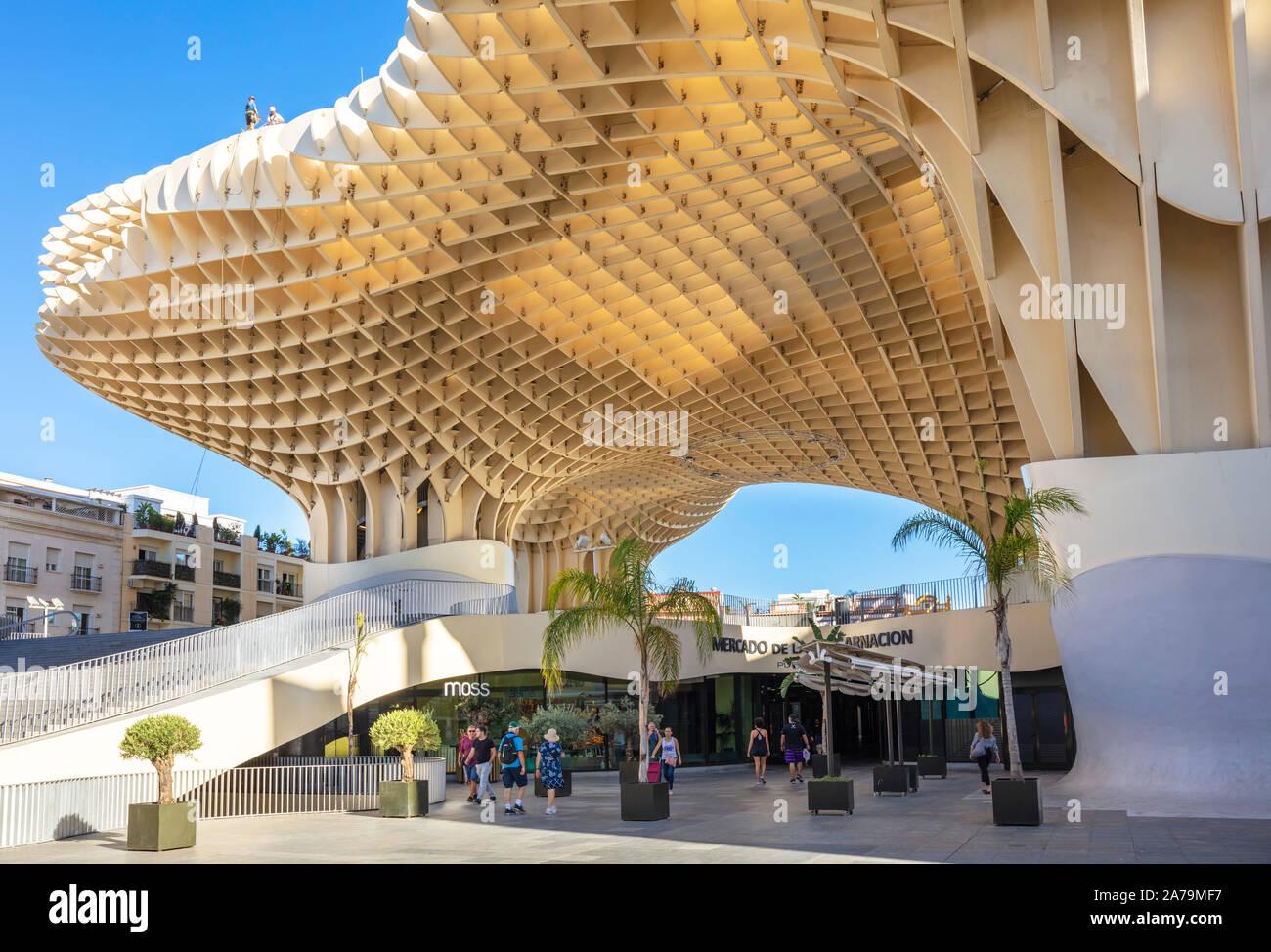 Seville Metropol Parasol Seville Sevilla Mushrooms Las Setas De Sevilla Plaza de la Encarnación Seville Spain seville Andalusia EU Europe Stock Photo