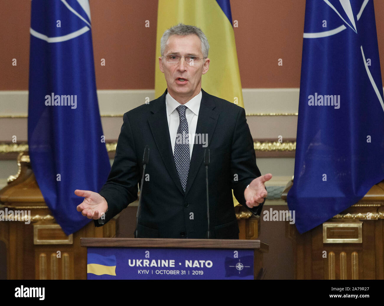 NATO Secretary General, Jens Stoltenberg speaks to the media after the NATO-Ukraine Commission meeting.The North Atlantic Council (NAC) with NATO Secretary General, Jens Stoltenberg visited Ukraine on October 30-31, 2019. Stock Photo