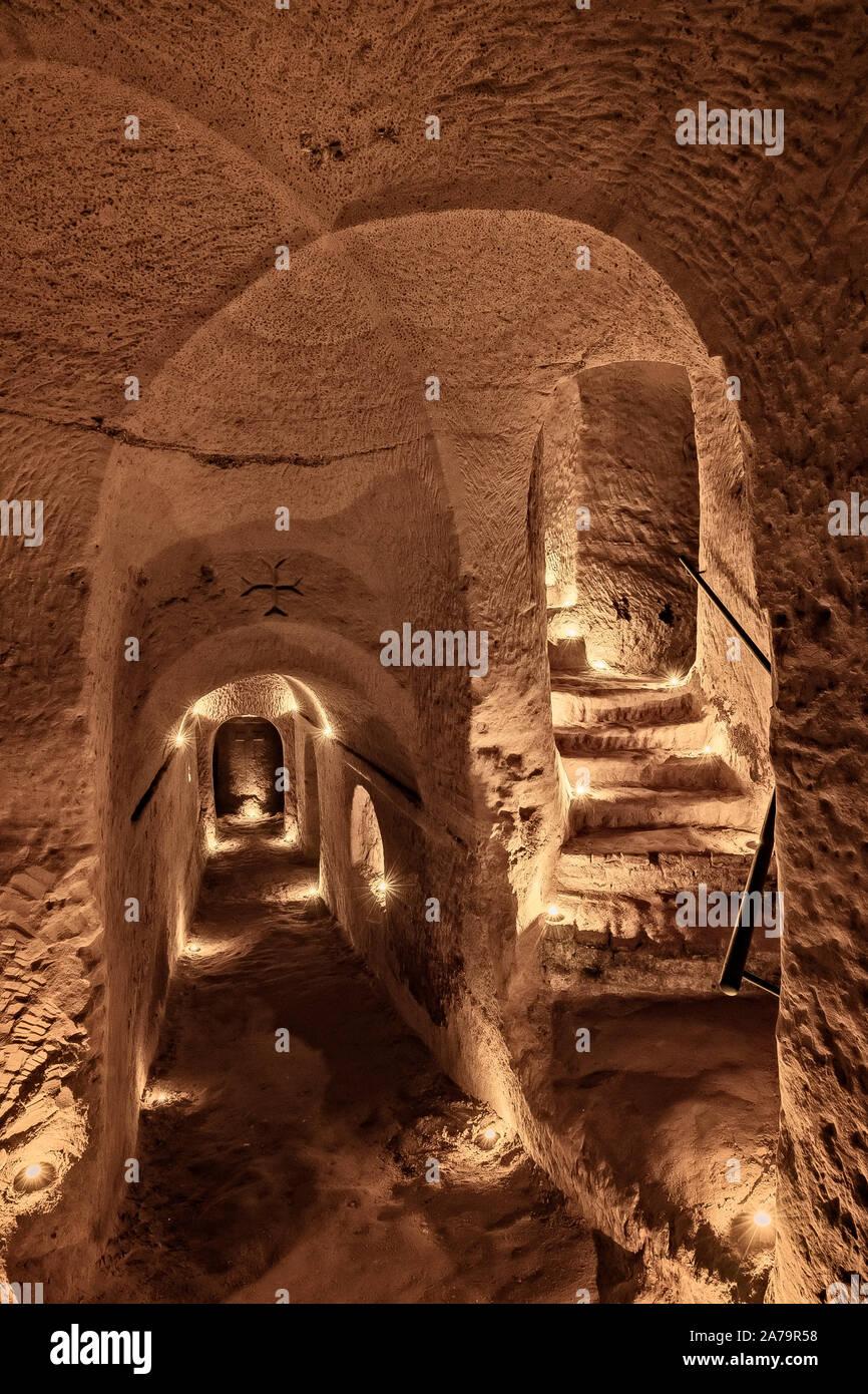 Italia Marche Osimo Grotte Riccioni gallerie| Italy Marche Riccioni Caves galleries Stock Photo