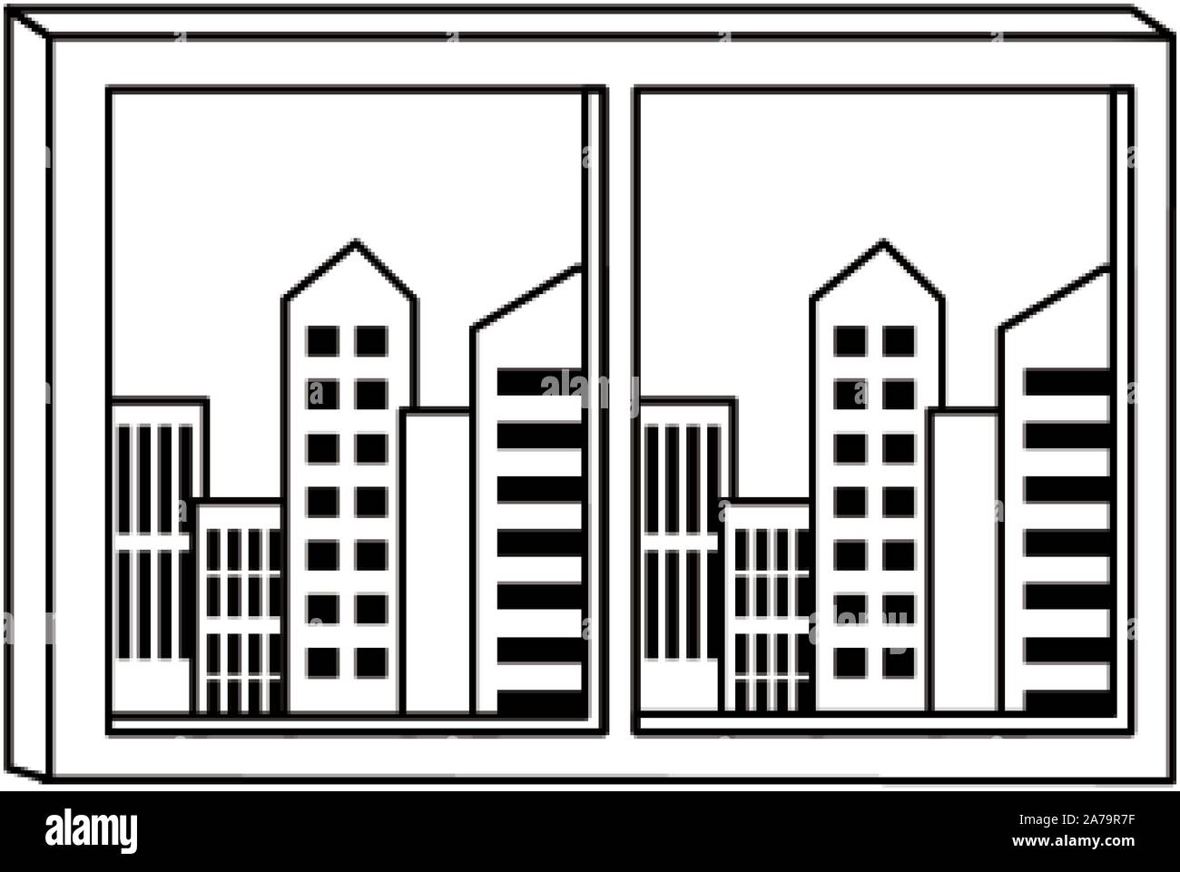 window with city buildings view, flat design Stock Vector