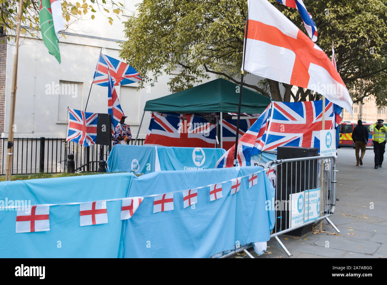 London,UK 31 October 2019. Pro Brexit protesters opposite Parliament. Stock Photo