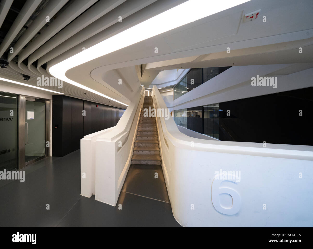 Interior of modern architecture of PolyU School of Design Jockey Club Innovation Tower at Hong Kong Polytechnic University, Hong Kong. Architect Zaha Stock Photo