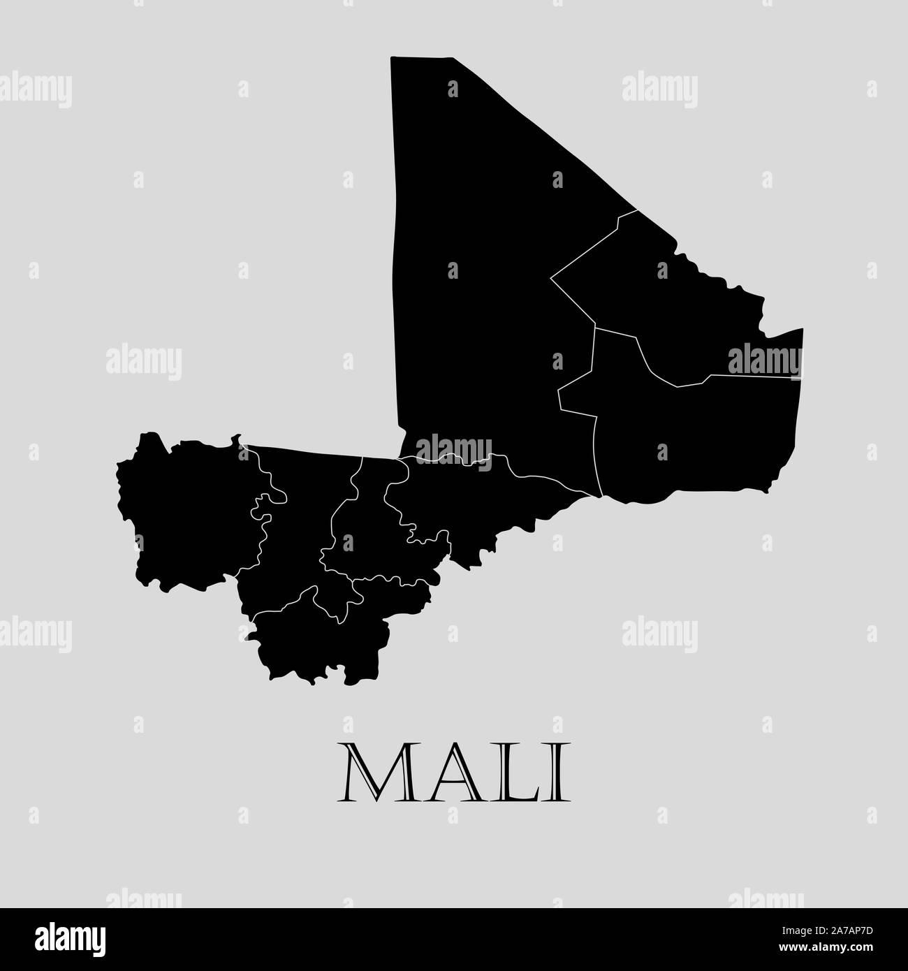Black Mali map on light grey background. Black Mali map - vector illustration. Stock Vector