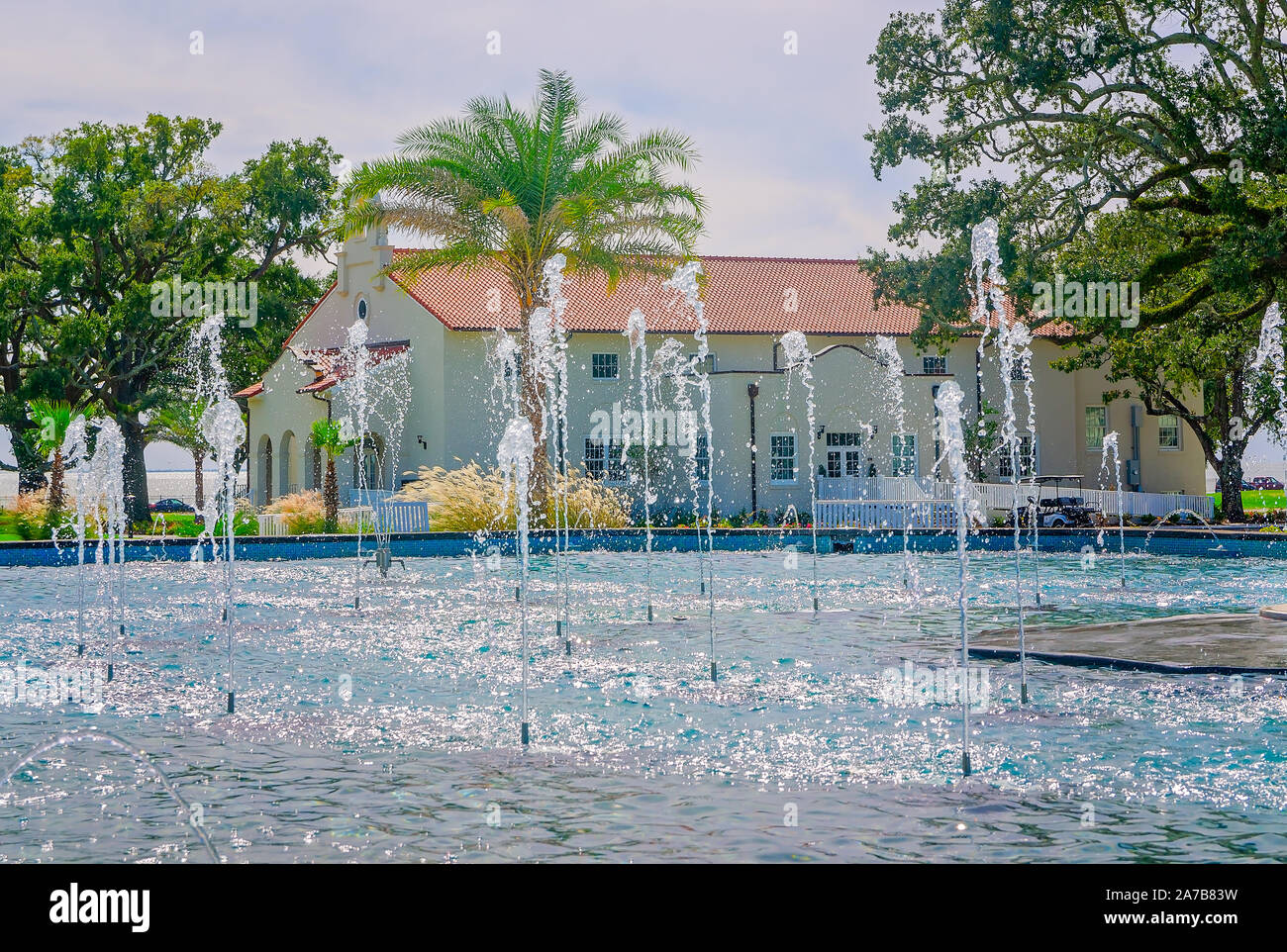 Water sprays at the Centennial Plaza fountain, Oct. 22, 2019, in Gulfport, Mississippi. Stock Photo