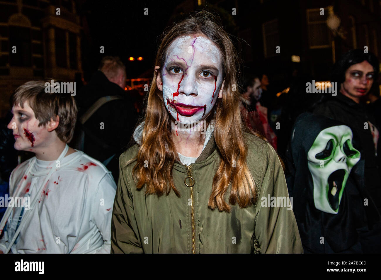 Halloween Arnhem.Arnhem Netherlands 31st Oct 2019 A Girl Wearing A Zombie Make Up Looks At The Camera During The Parade As In Previous Years The Zombie Walk Took Place Around The Center Of Arnhem