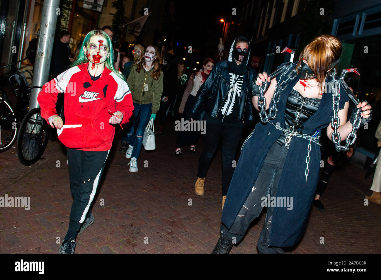 Halloween Arnhem.Arnhem Netherlands 31st Oct 2019 Zombies Are Seen Walking On The Street During The Parade As